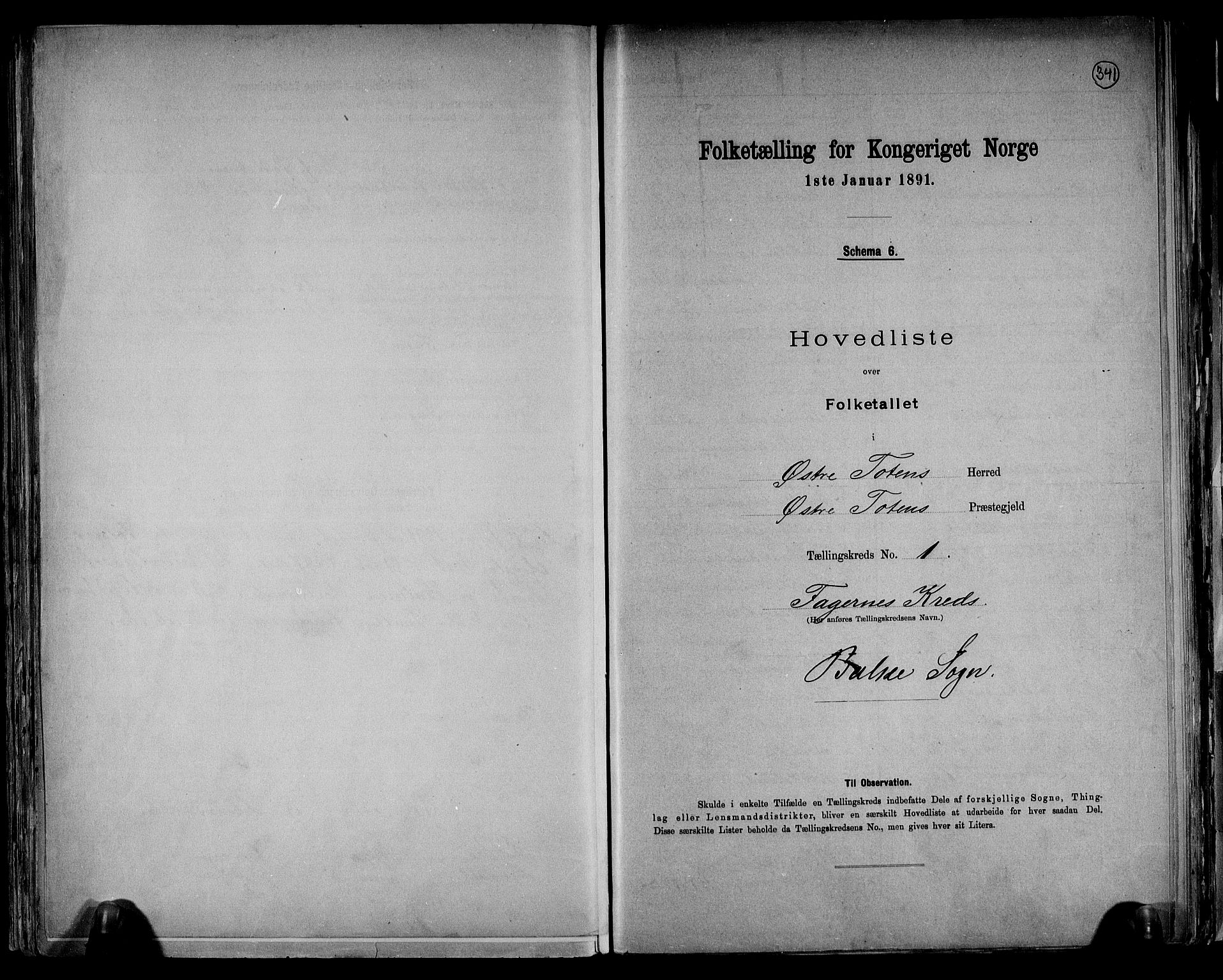 RA, Folketelling 1891 for 0528 Østre Toten herred, 1891, s. 4