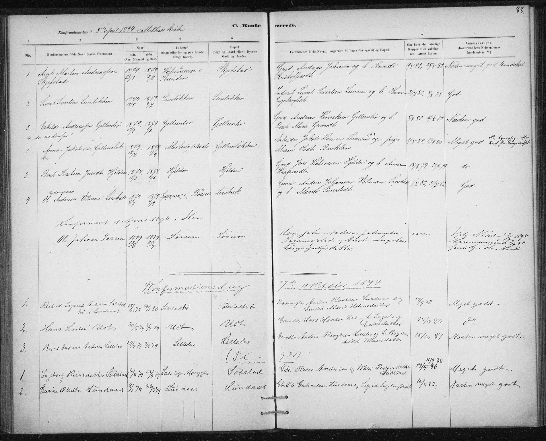 SAT, Ministerialprotokoller, klokkerbøker og fødselsregistre - Sør-Trøndelag, 613/L0392: Ministerialbok nr. 613A01, 1887-1906, s. 88