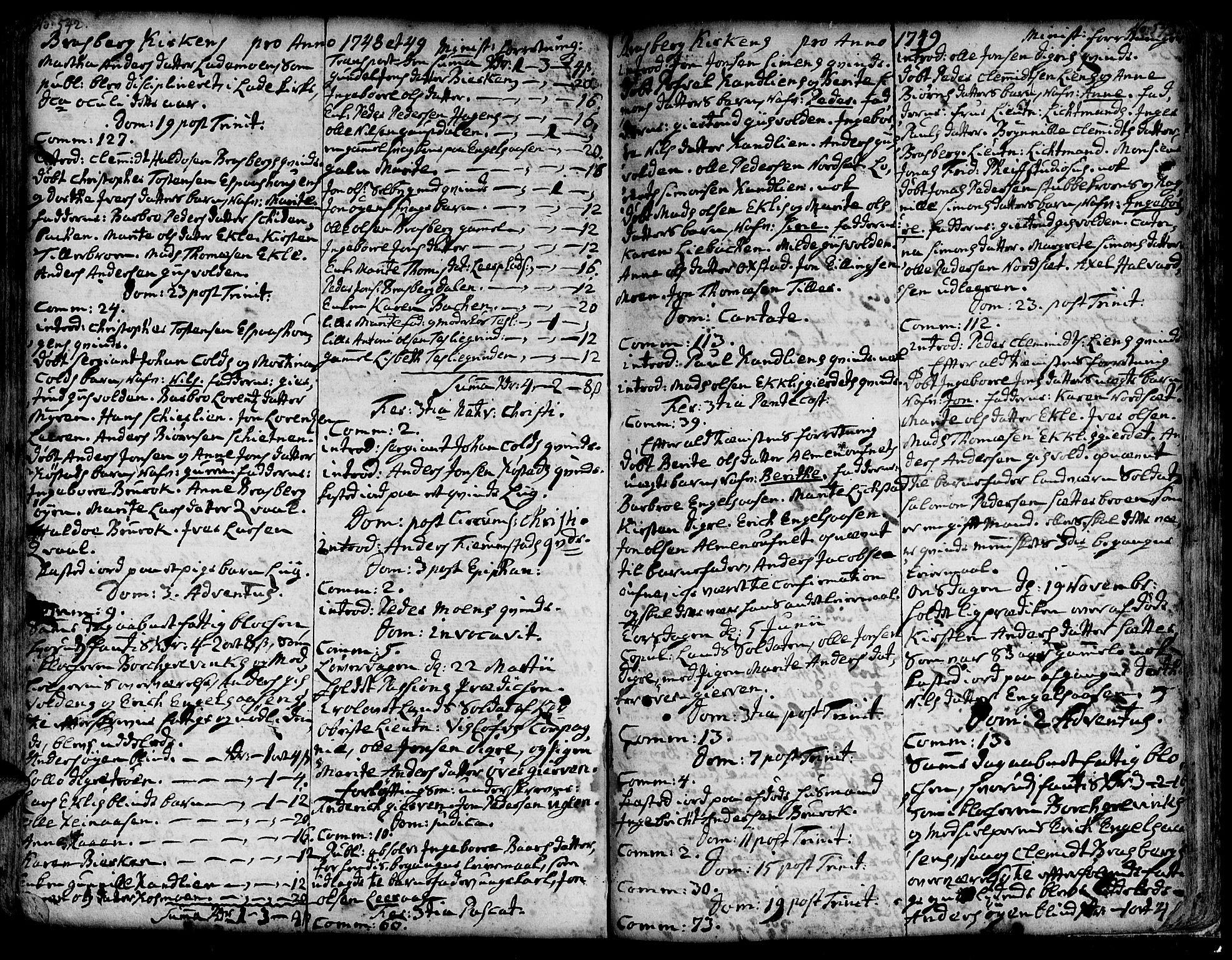 SAT, Ministerialprotokoller, klokkerbøker og fødselsregistre - Sør-Trøndelag, 606/L0278: Ministerialbok nr. 606A01 /4, 1727-1780, s. 542-543