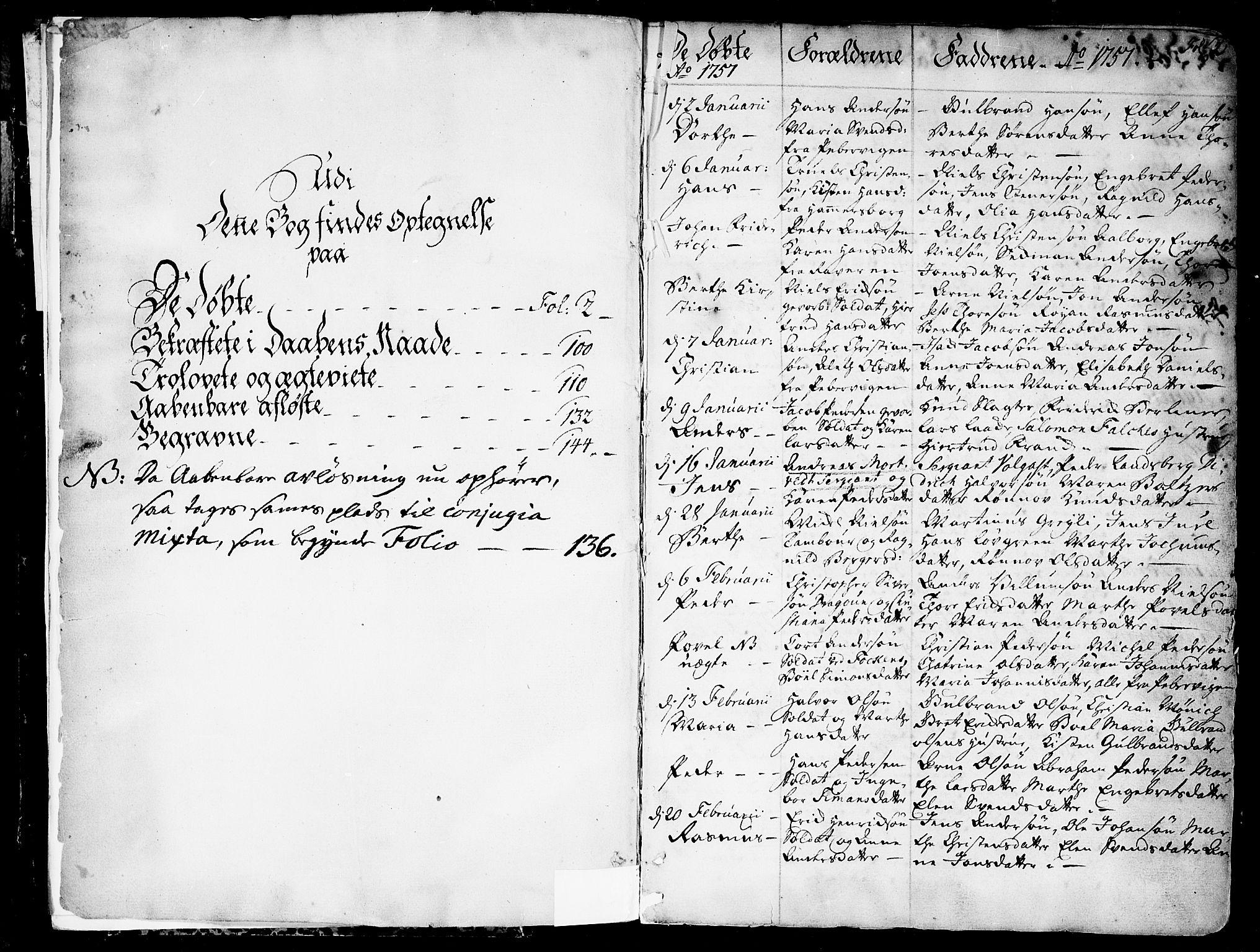 SAO, Garnisonsmenigheten Kirkebøker, F/Fa/L0002: Ministerialbok nr. 2, 1757-1776, s. 2