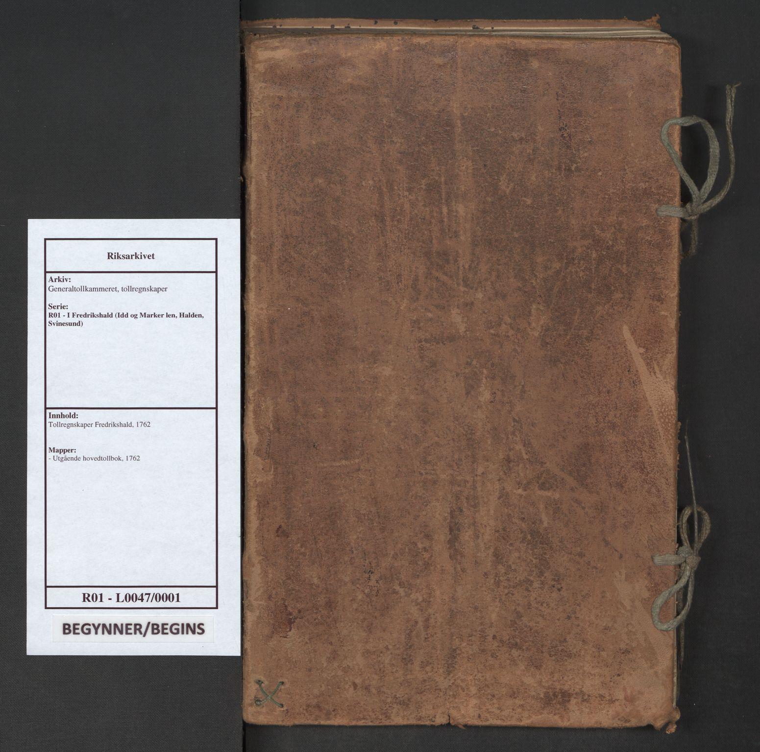 RA, Generaltollkammeret, tollregnskaper, R01/L0047: Tollregnskaper Fredrikshald, 1762