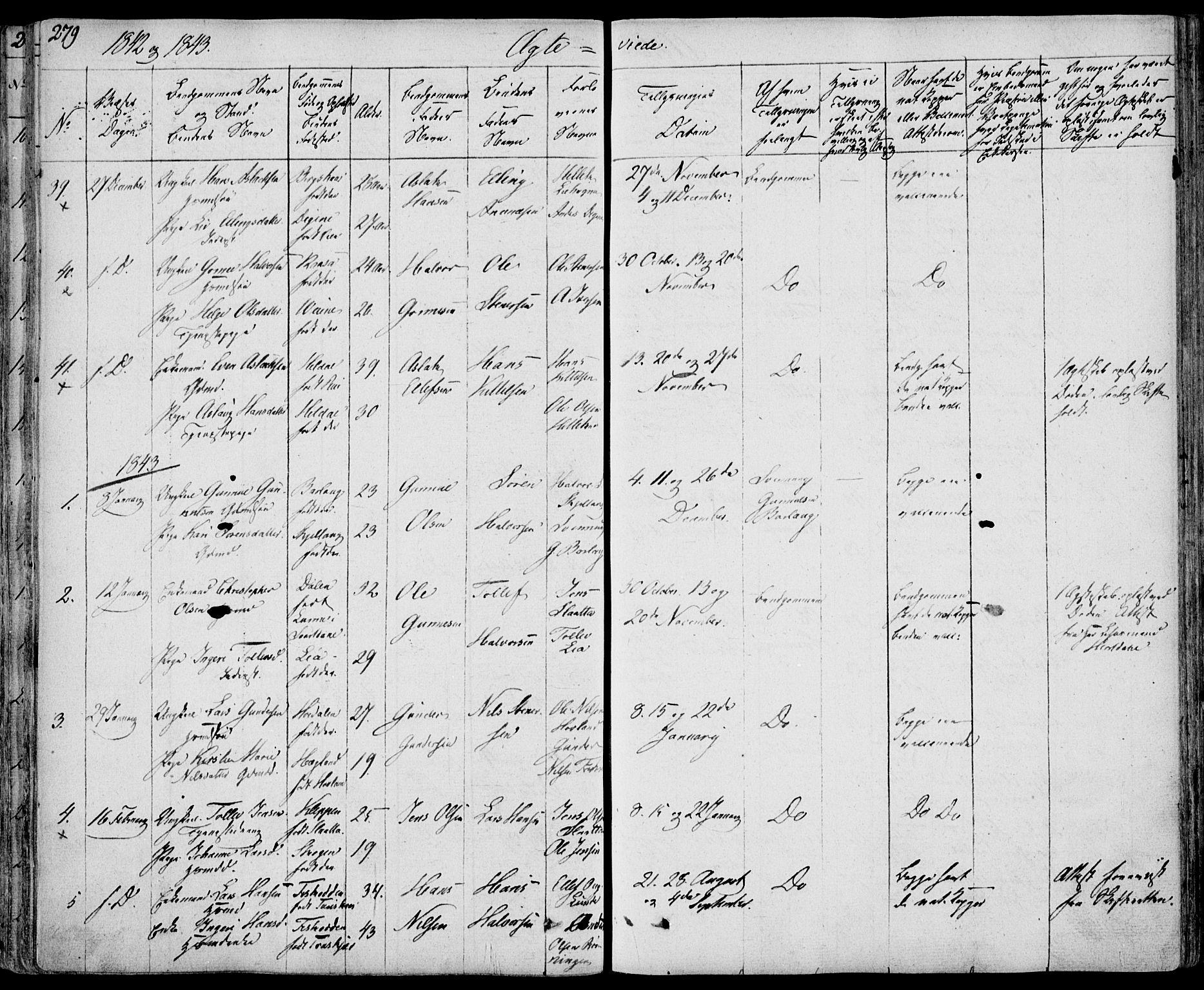 SAKO, Bø kirkebøker, F/Fa/L0007: Ministerialbok nr. 7, 1831-1848, s. 279