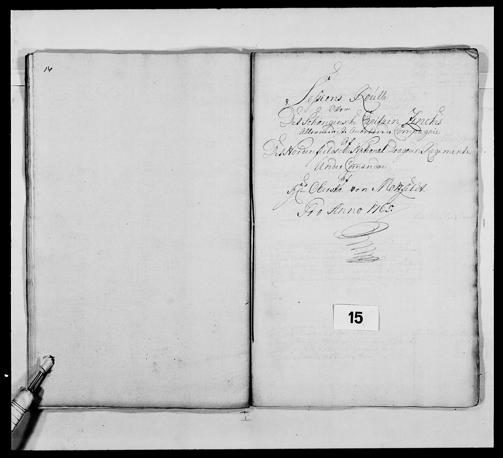 RA, Kommanderende general (KG I) med Det norske krigsdirektorium, E/Ea/L0483: Nordafjelske dragonregiment, 1765-1767, s. 342