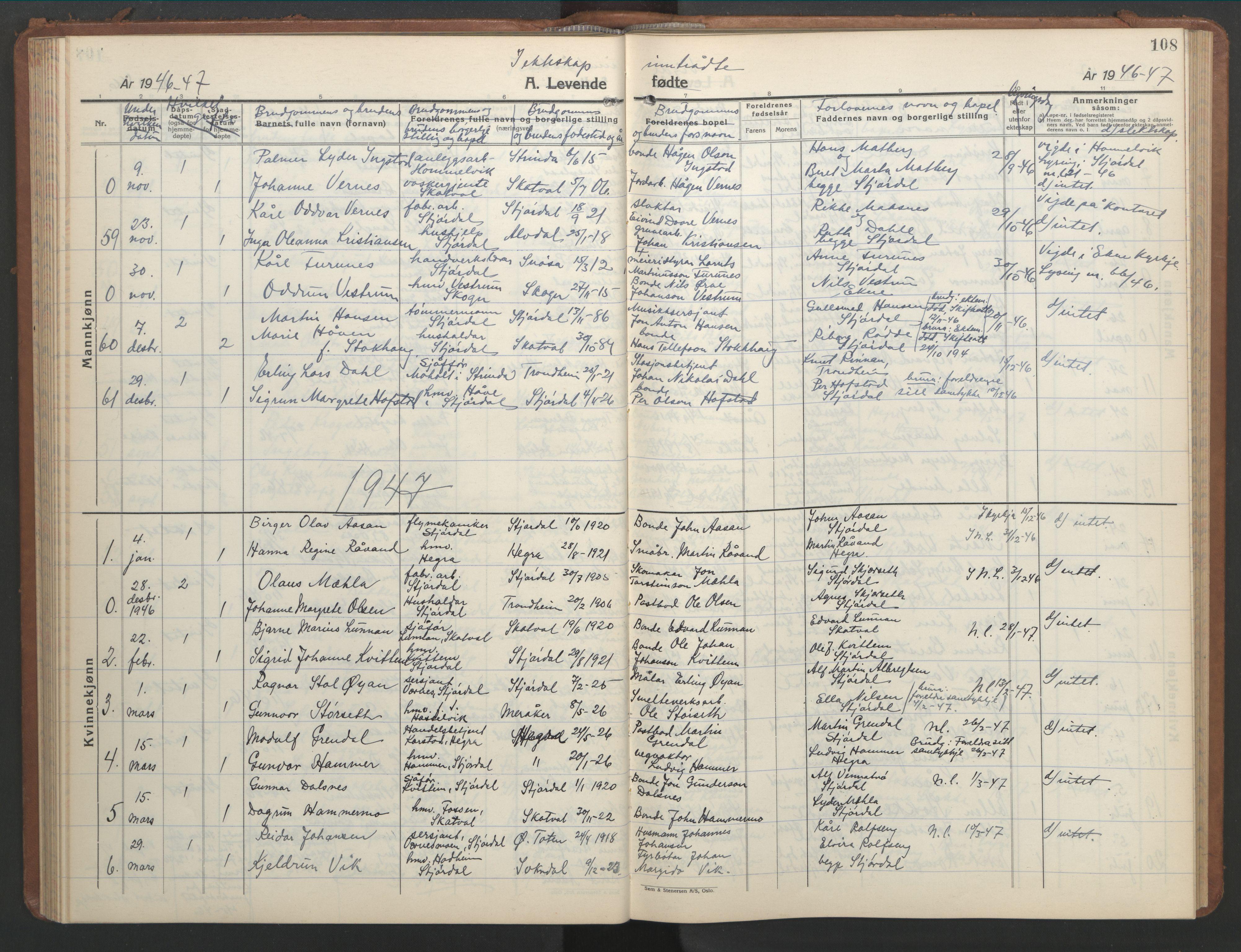 SAT, Ministerialprotokoller, klokkerbøker og fødselsregistre - Nord-Trøndelag, 709/L0089: Klokkerbok nr. 709C03, 1935-1948, s. 108