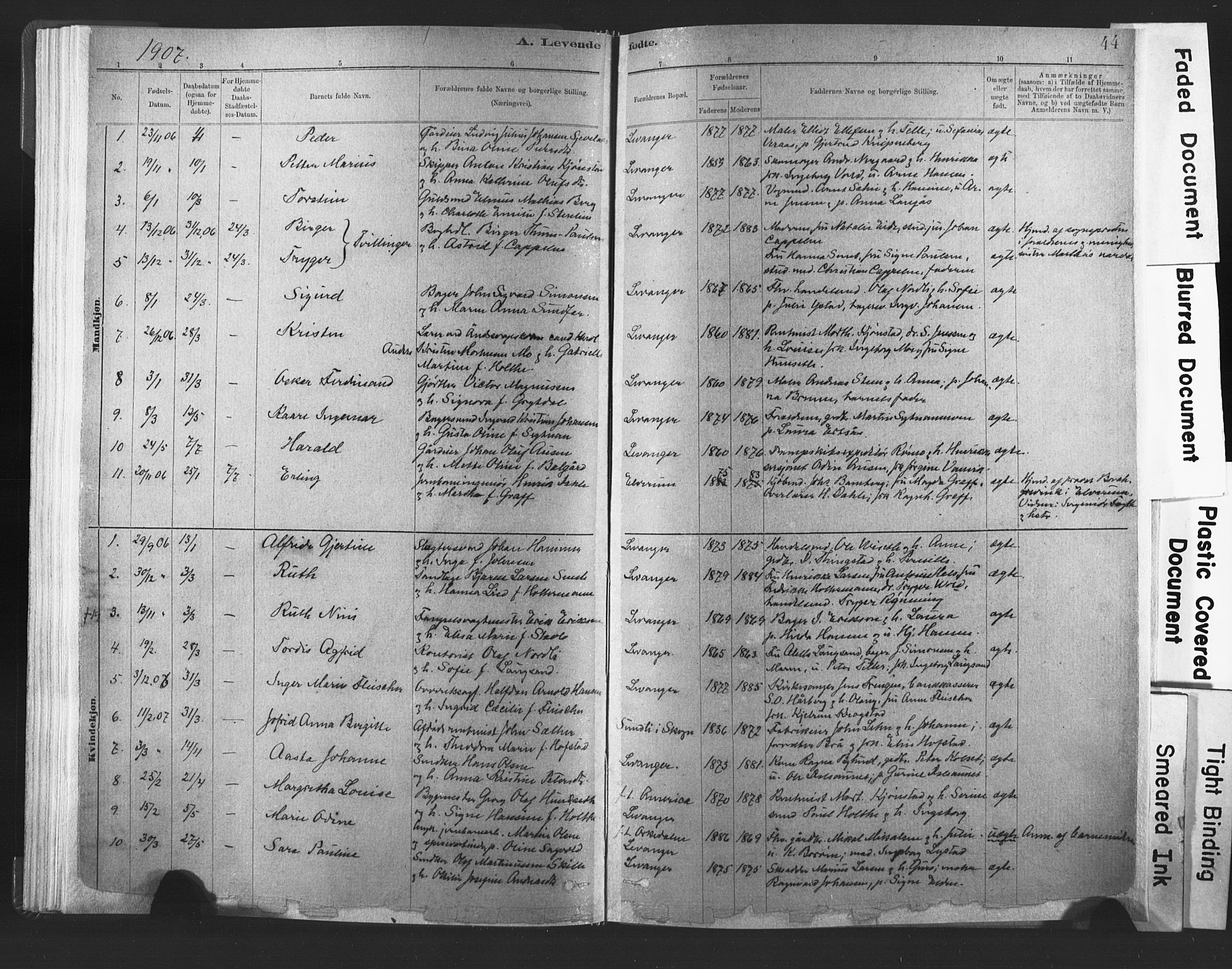 SAT, Ministerialprotokoller, klokkerbøker og fødselsregistre - Nord-Trøndelag, 720/L0189: Ministerialbok nr. 720A05, 1880-1911, s. 44