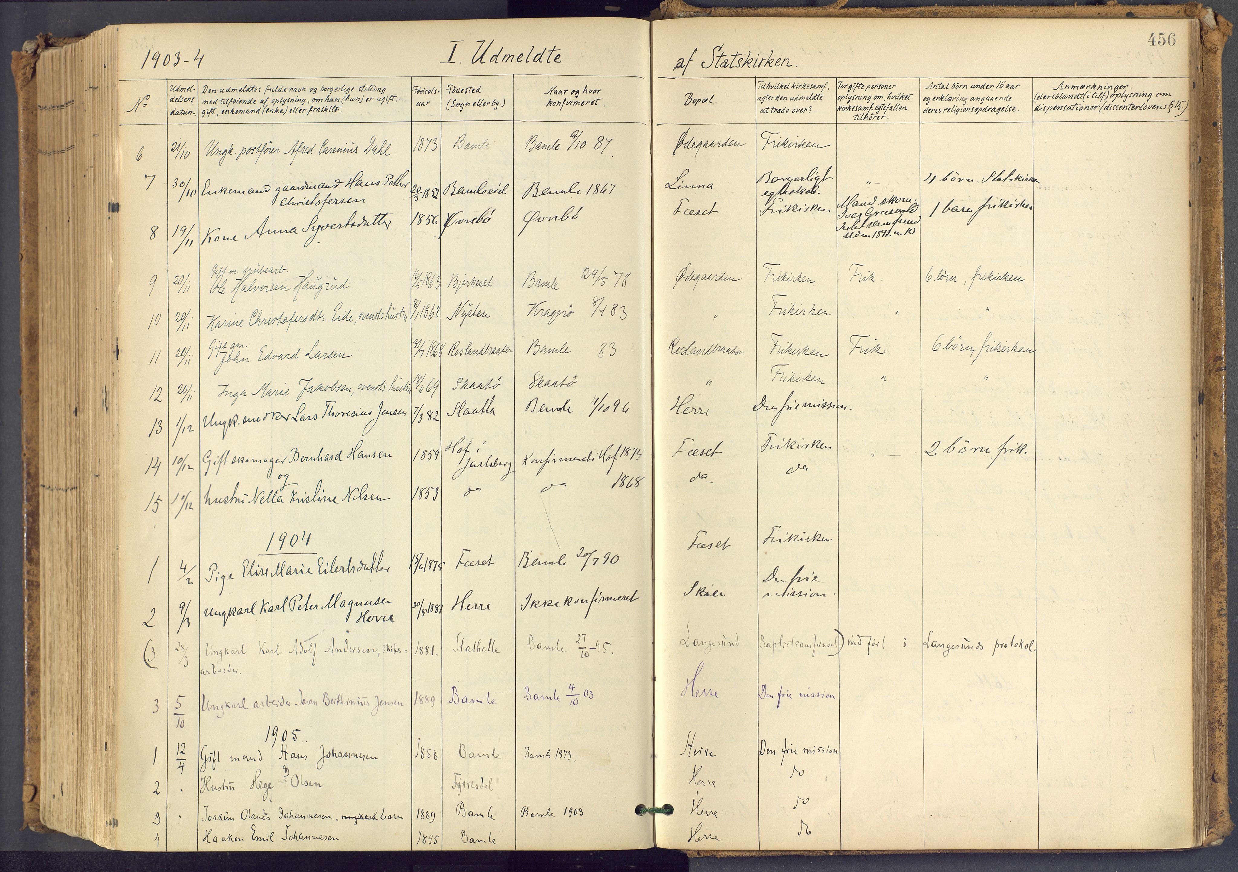 SAKO, Bamble kirkebøker, F/Fa/L0009: Ministerialbok nr. I 9, 1901-1917, s. 456