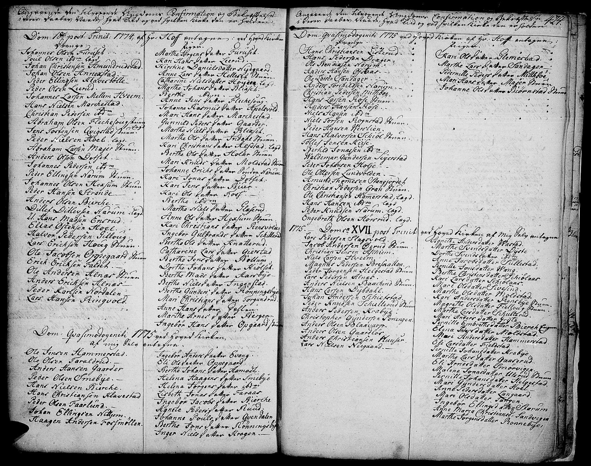 SAH, Toten prestekontor, Ministerialbok nr. 6, 1773-1793, s. 424