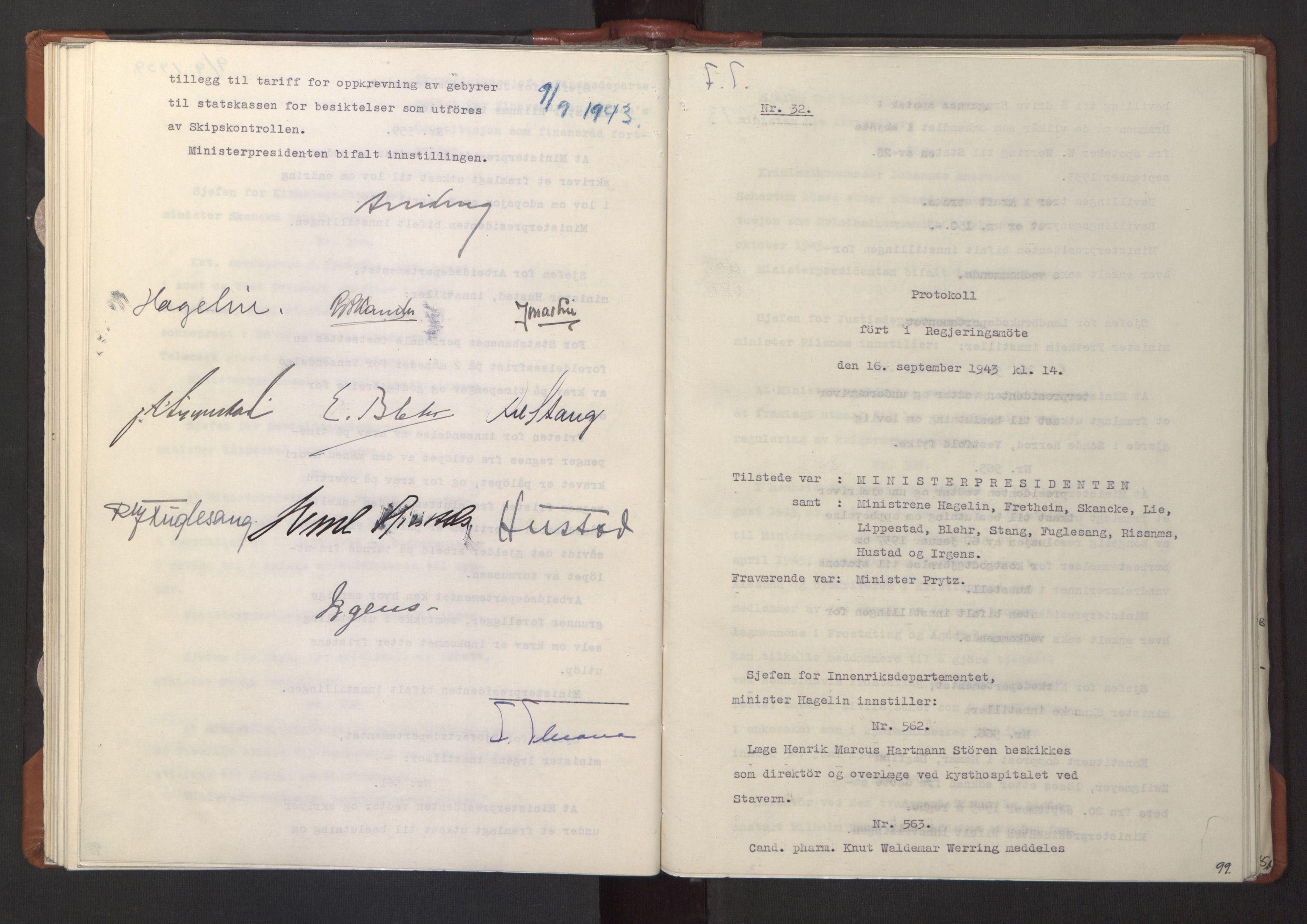 RA, NS-administrasjonen 1940-1945 (Statsrådsekretariatet, de kommisariske statsråder mm), D/Da/L0003: Vedtak (Beslutninger) nr. 1-746 og tillegg nr. 1-47 (RA. j.nr. 1394/1944, tilgangsnr. 8/1944, 1943, s. 98b-99a