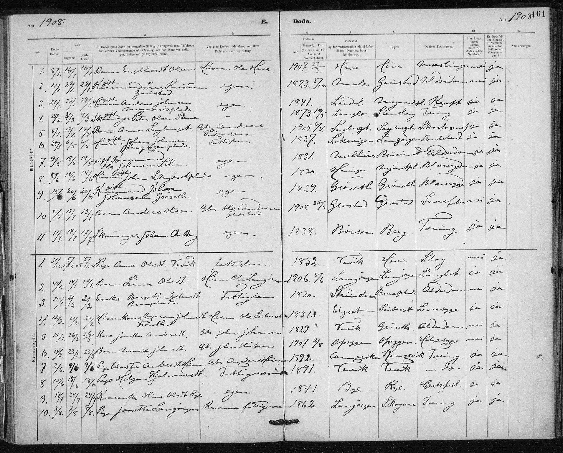 SAT, Ministerialprotokoller, klokkerbøker og fødselsregistre - Sør-Trøndelag, 612/L0381: Ministerialbok nr. 612A13, 1907-1923, s. 161