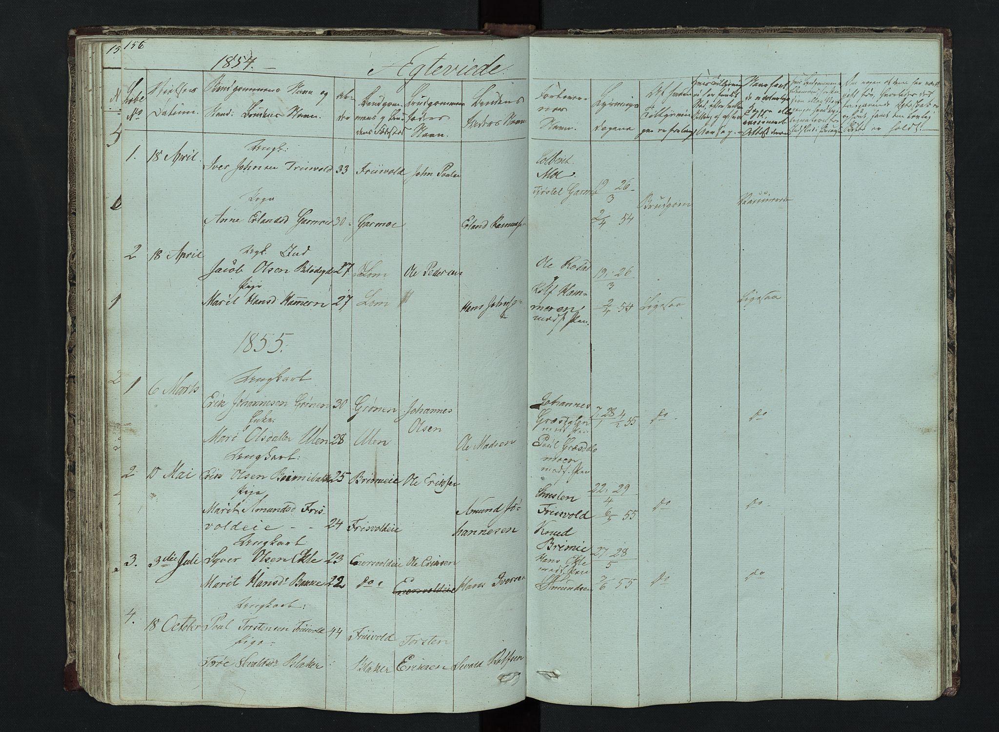 SAH, Lom prestekontor, L/L0014: Klokkerbok nr. 14, 1845-1876, s. 156-157