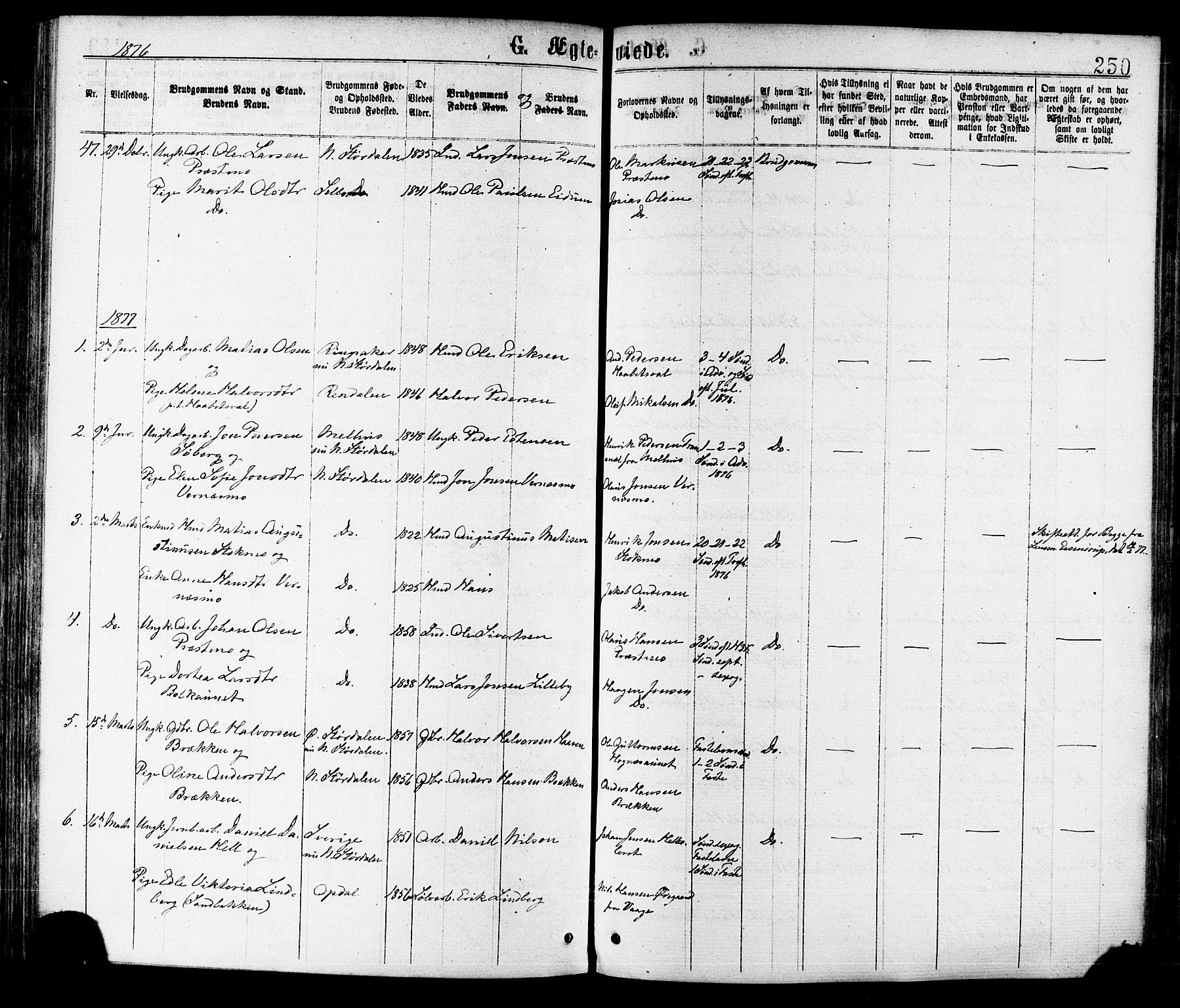 SAT, Ministerialprotokoller, klokkerbøker og fødselsregistre - Nord-Trøndelag, 709/L0076: Ministerialbok nr. 709A16, 1871-1879, s. 250