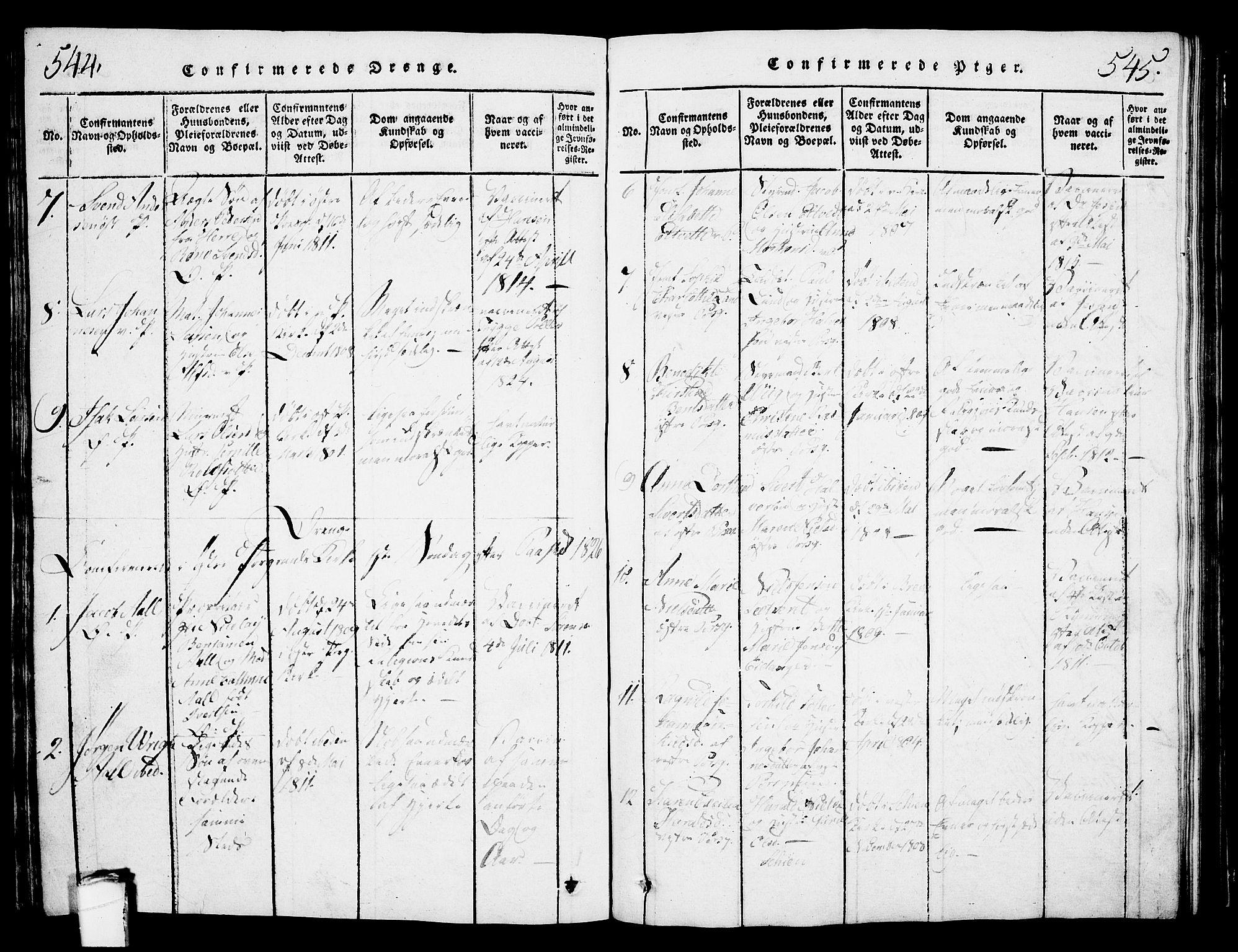 SAKO, Porsgrunn kirkebøker , G/Gb/L0001: Klokkerbok nr. II 1, 1817-1828, s. 544-545