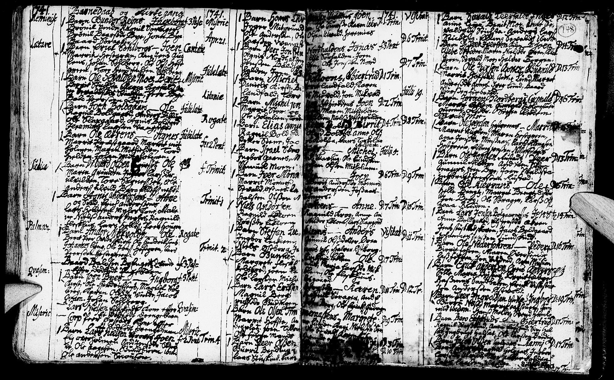 SAT, Ministerialprotokoller, klokkerbøker og fødselsregistre - Nord-Trøndelag, 723/L0230: Ministerialbok nr. 723A01, 1705-1747, s. 148