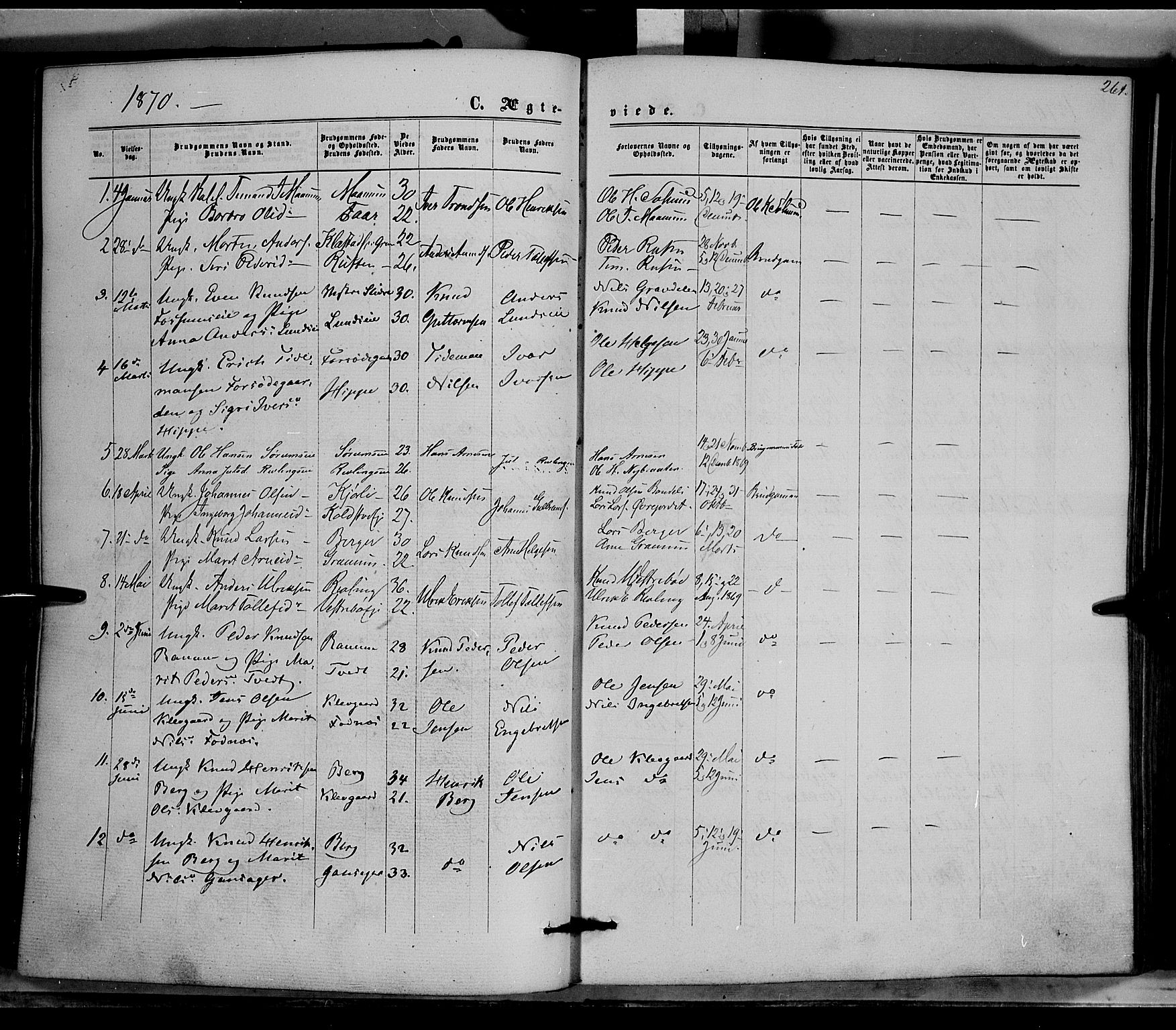 SAH, Nord-Aurdal prestekontor, Ministerialbok nr. 8, 1863-1875, s. 261