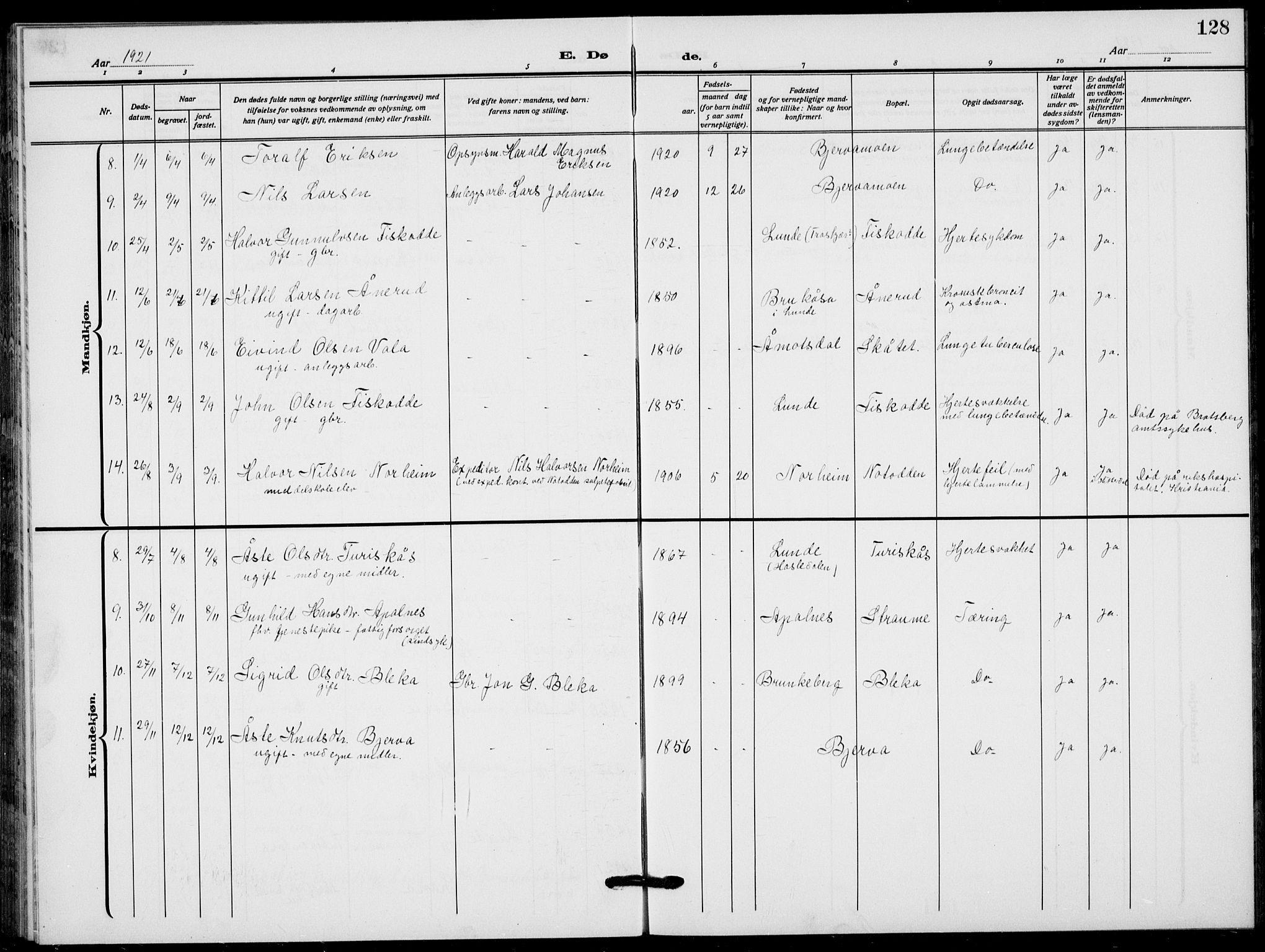 SAKO, Lunde kirkebøker, F/Fa/L0005: Ministerialbok nr. I 5, 1914-1922, s. 128