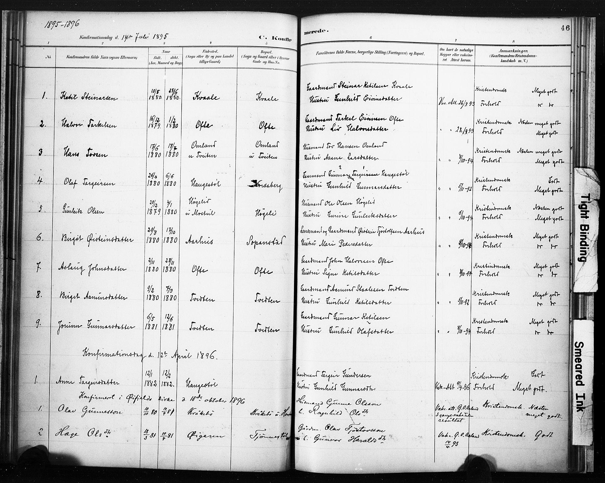 SAKO, Lårdal kirkebøker, F/Fc/L0002: Ministerialbok nr. III 2, 1887-1906, s. 46