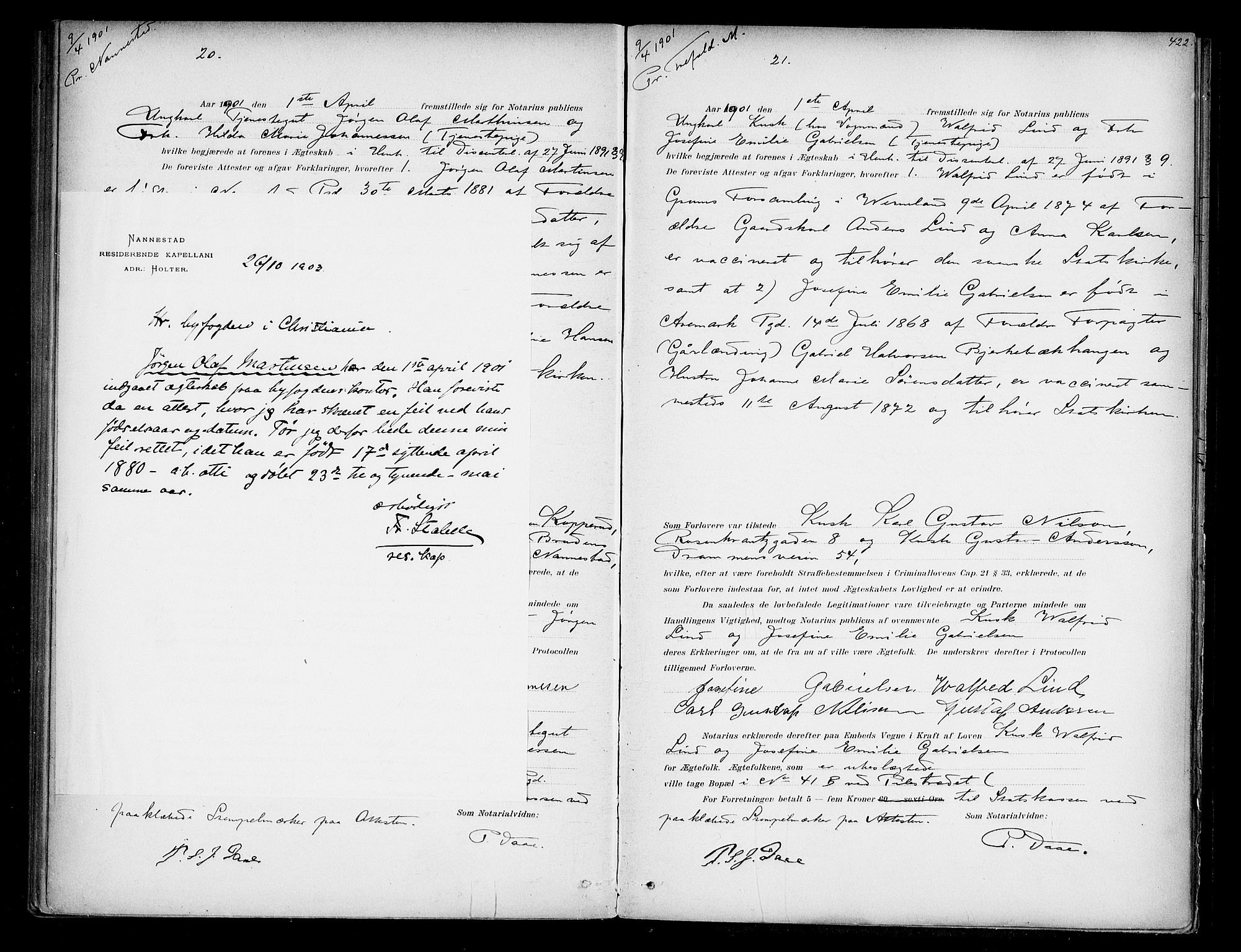 SAO, Oslo byfogd avd. I, L/Lb/Lbb/L0005: Notarialprotokoll, rekke II: Vigsler, 1897-1902, s. 421b-422a