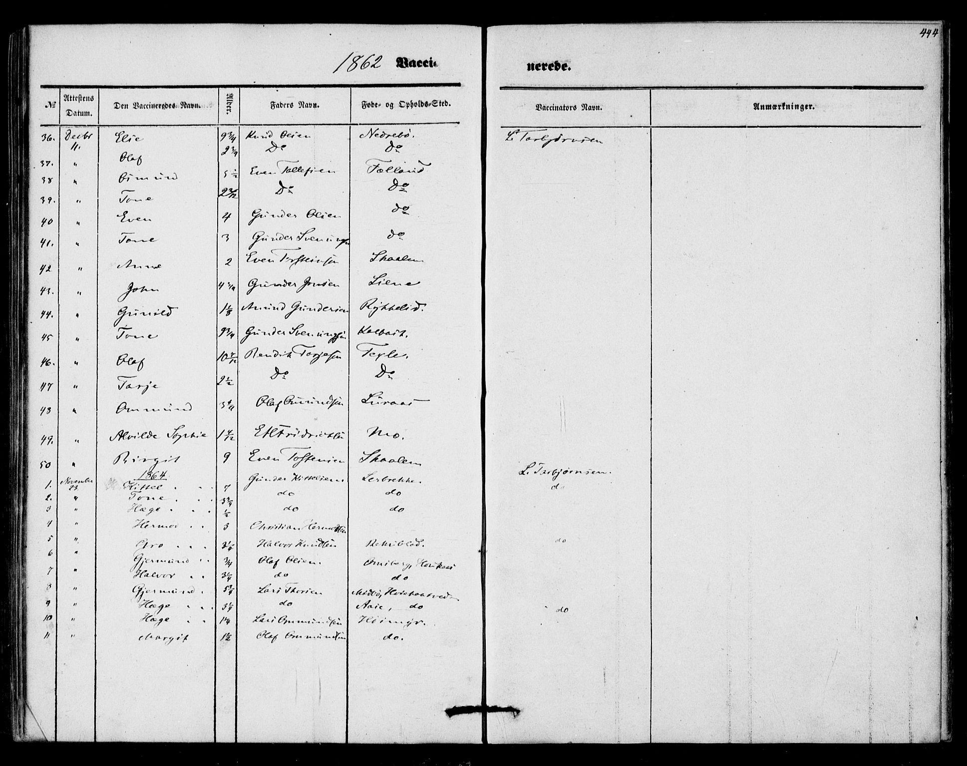 SAKO, Mo kirkebøker, F/Fa/L0005: Ministerialbok nr. I 5, 1844-1864, s. 444
