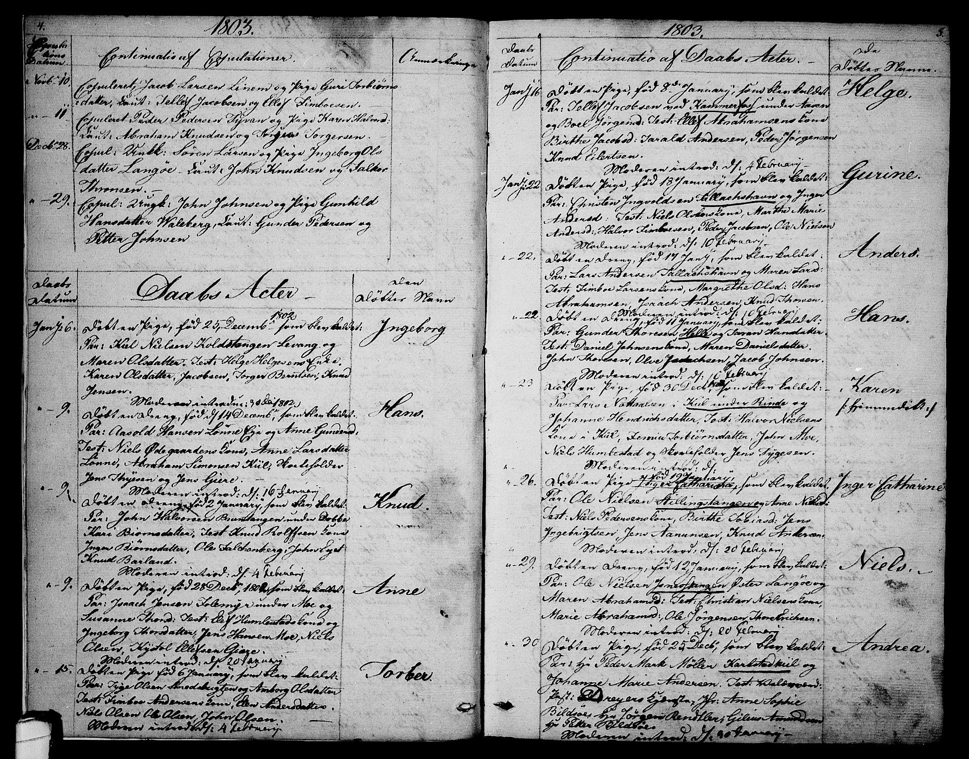 SAKO, Sannidal kirkebøker, F/Fa/L0003: Ministerialbok nr. 3, 1803-1813, s. 4-5