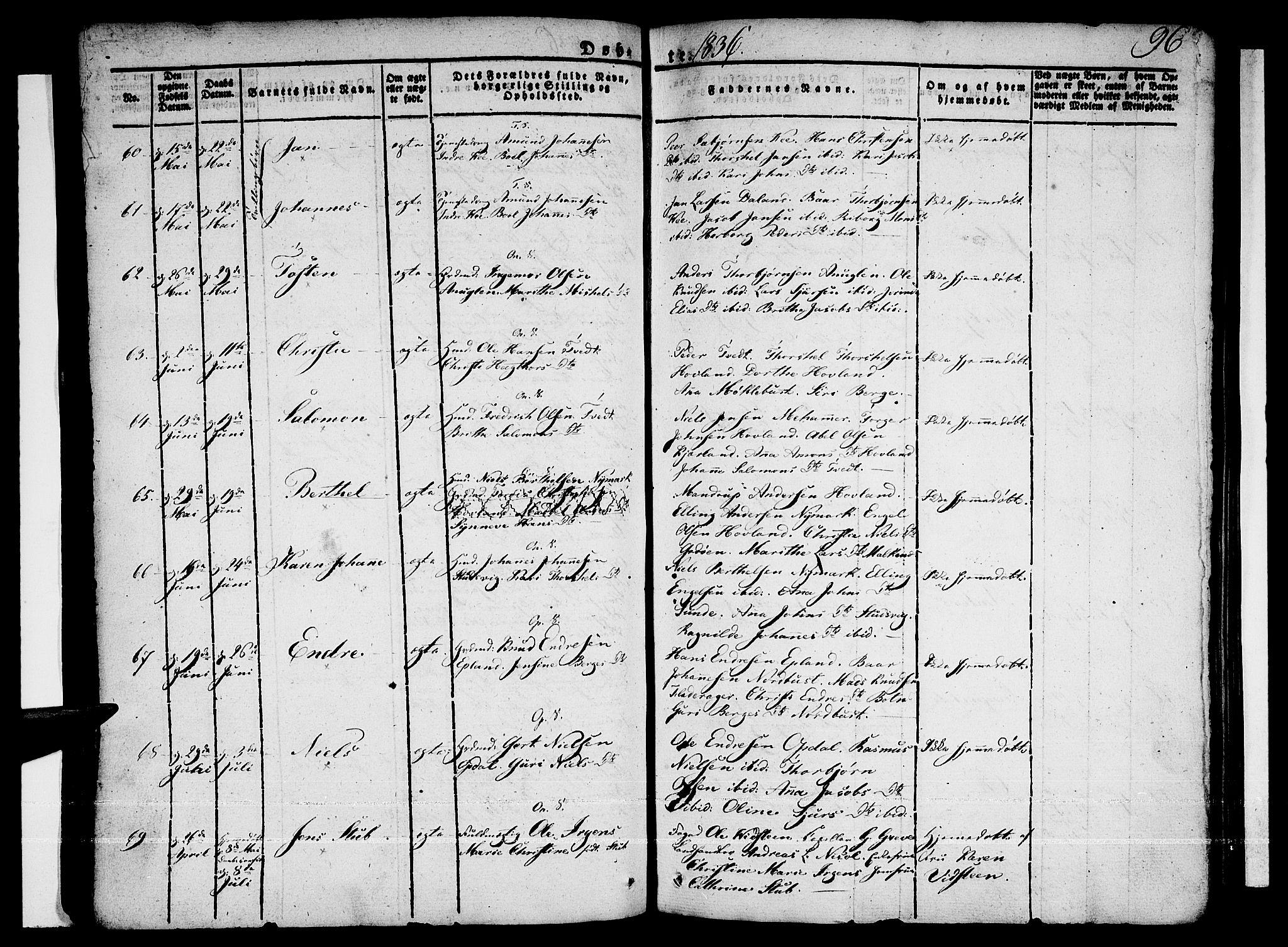 SAB, Tysnes sokneprestembete, H/Haa: Ministerialbok nr. A 8, 1826-1837, s. 96