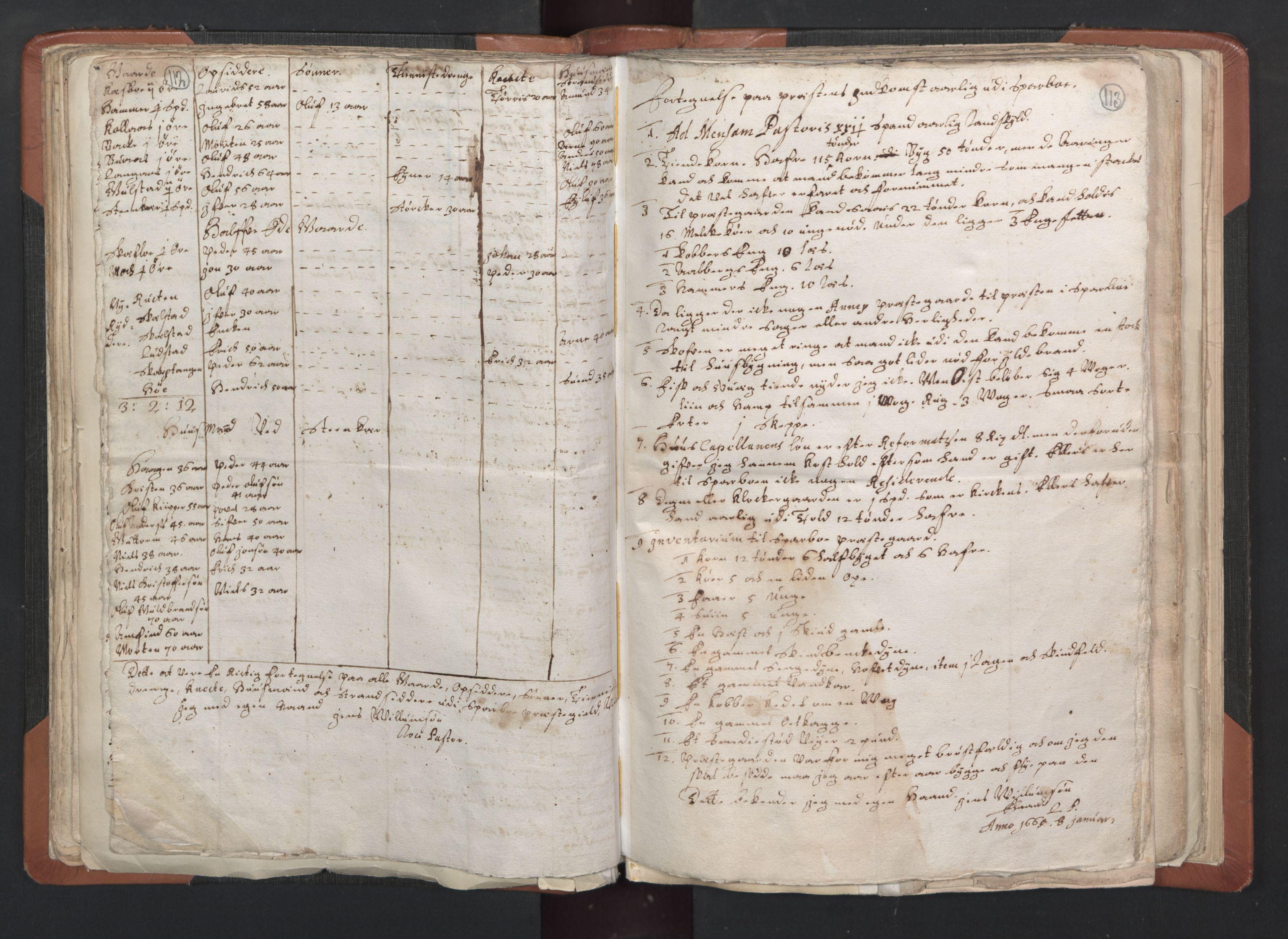 RA, Sogneprestenes manntall 1664-1666, nr. 33: Innherad prosti, 1664-1666, s. 112-113