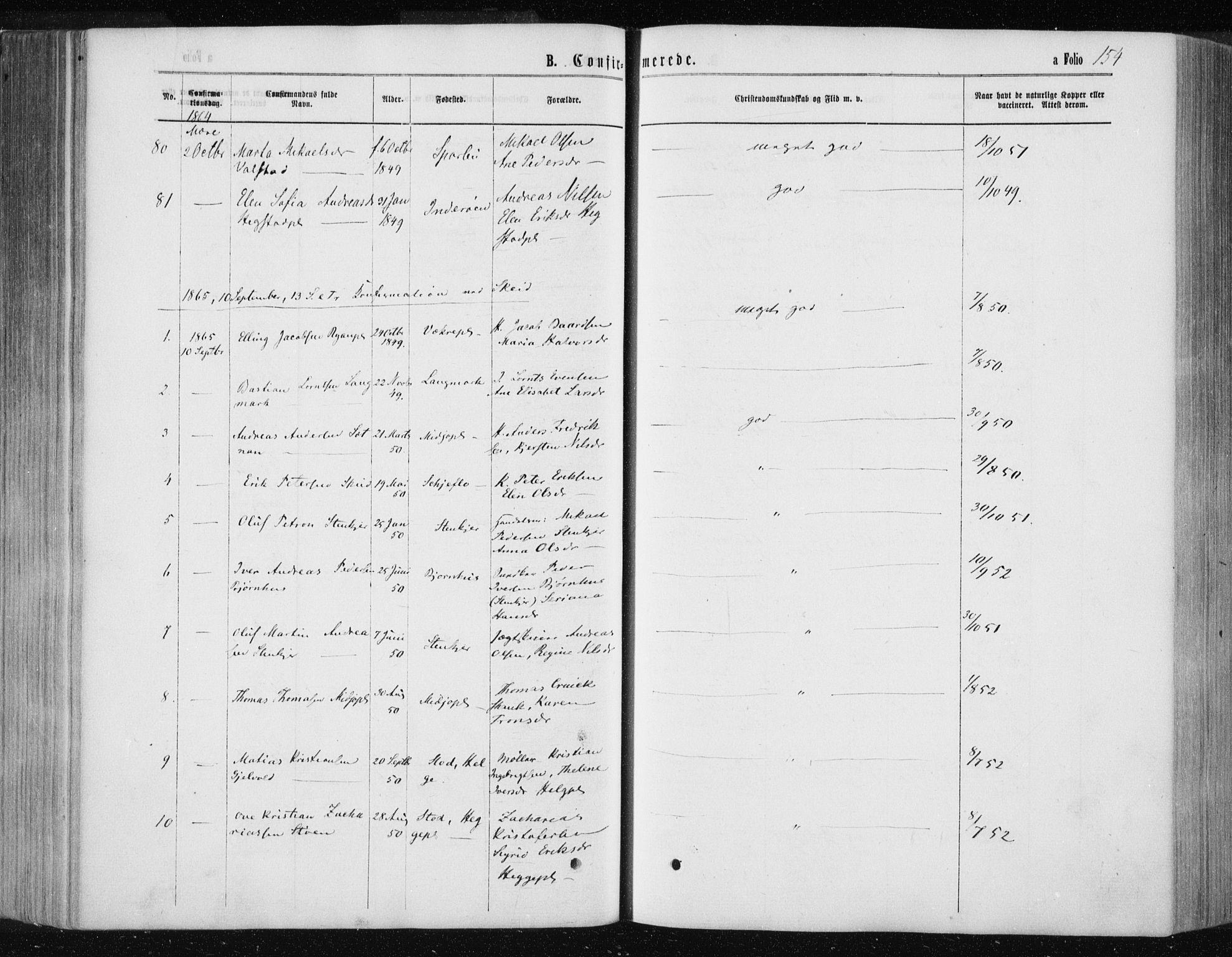 SAT, Ministerialprotokoller, klokkerbøker og fødselsregistre - Nord-Trøndelag, 735/L0345: Ministerialbok nr. 735A08 /1, 1863-1872, s. 154