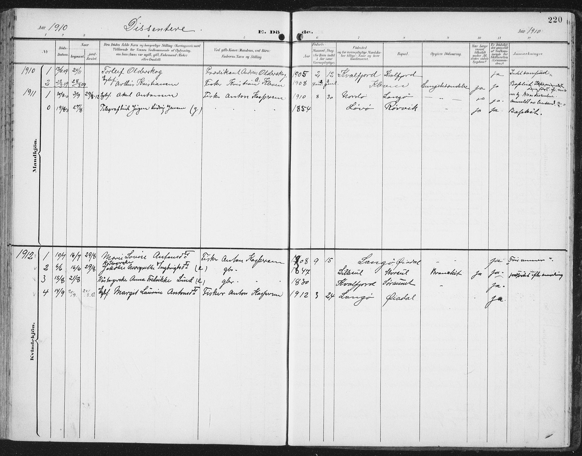 SAT, Ministerialprotokoller, klokkerbøker og fødselsregistre - Nord-Trøndelag, 786/L0688: Ministerialbok nr. 786A04, 1899-1912, s. 220
