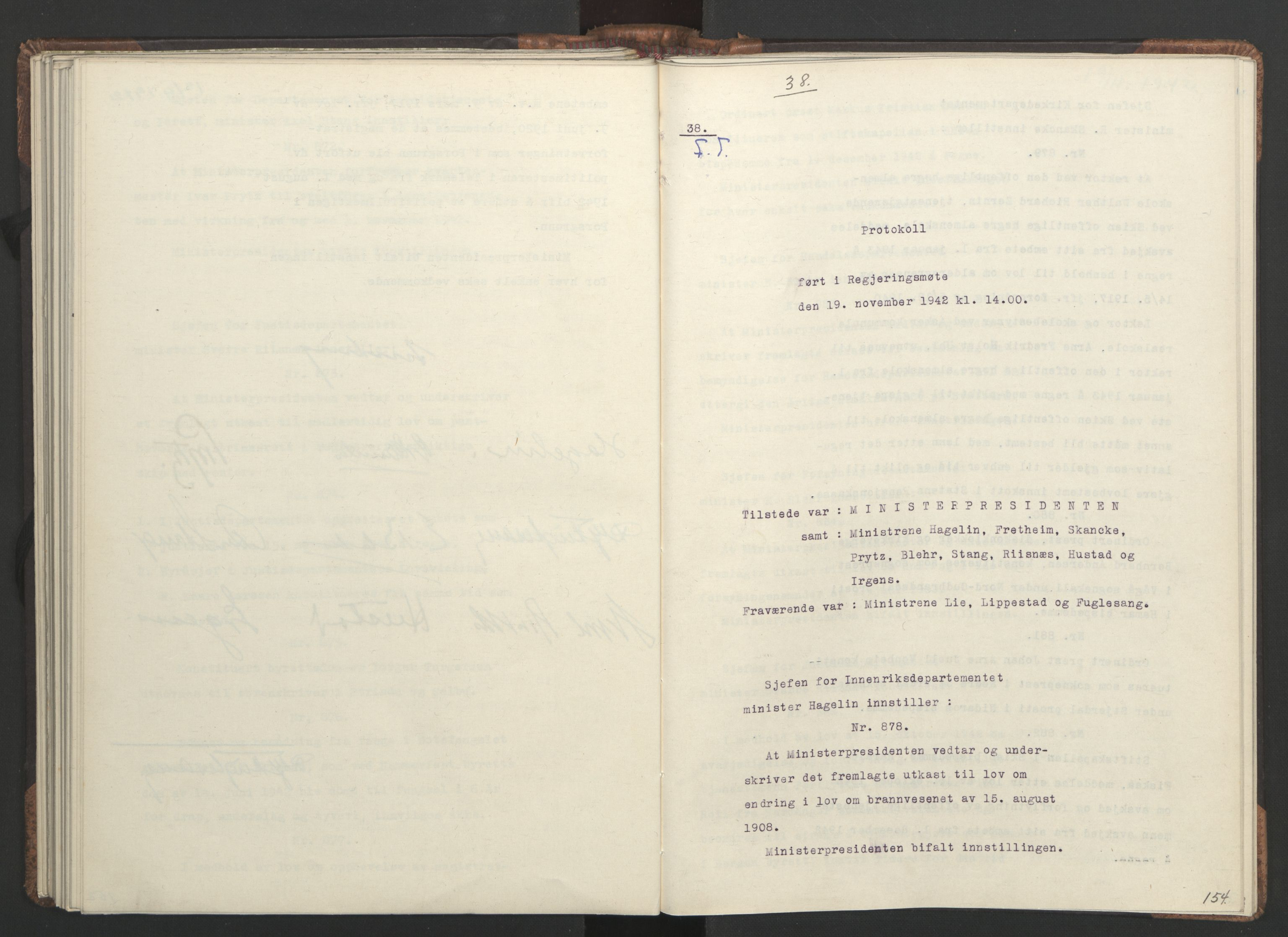 RA, NS-administrasjonen 1940-1945 (Statsrådsekretariatet, de kommisariske statsråder mm), D/Da/L0001: Beslutninger og tillegg (1-952 og 1-32), 1942, s. 153b-154a