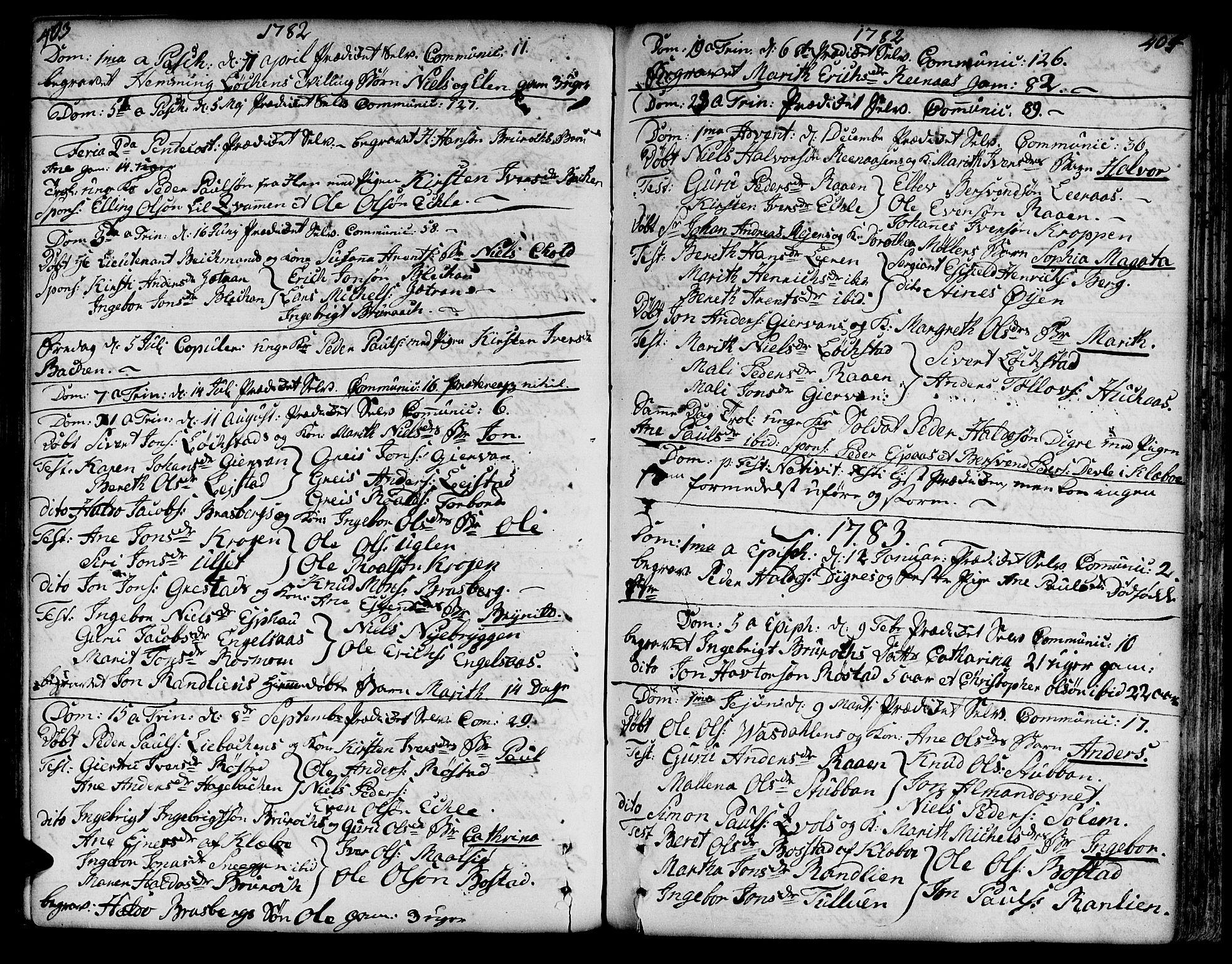 SAT, Ministerialprotokoller, klokkerbøker og fødselsregistre - Sør-Trøndelag, 606/L0282: Ministerialbok nr. 606A02 /3, 1781-1817, s. 403-404