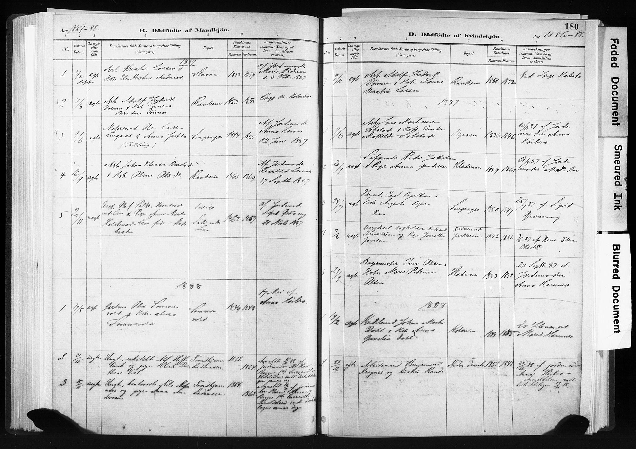 SAT, Ministerialprotokoller, klokkerbøker og fødselsregistre - Sør-Trøndelag, 606/L0300: Ministerialbok nr. 606A15, 1886-1893, s. 180