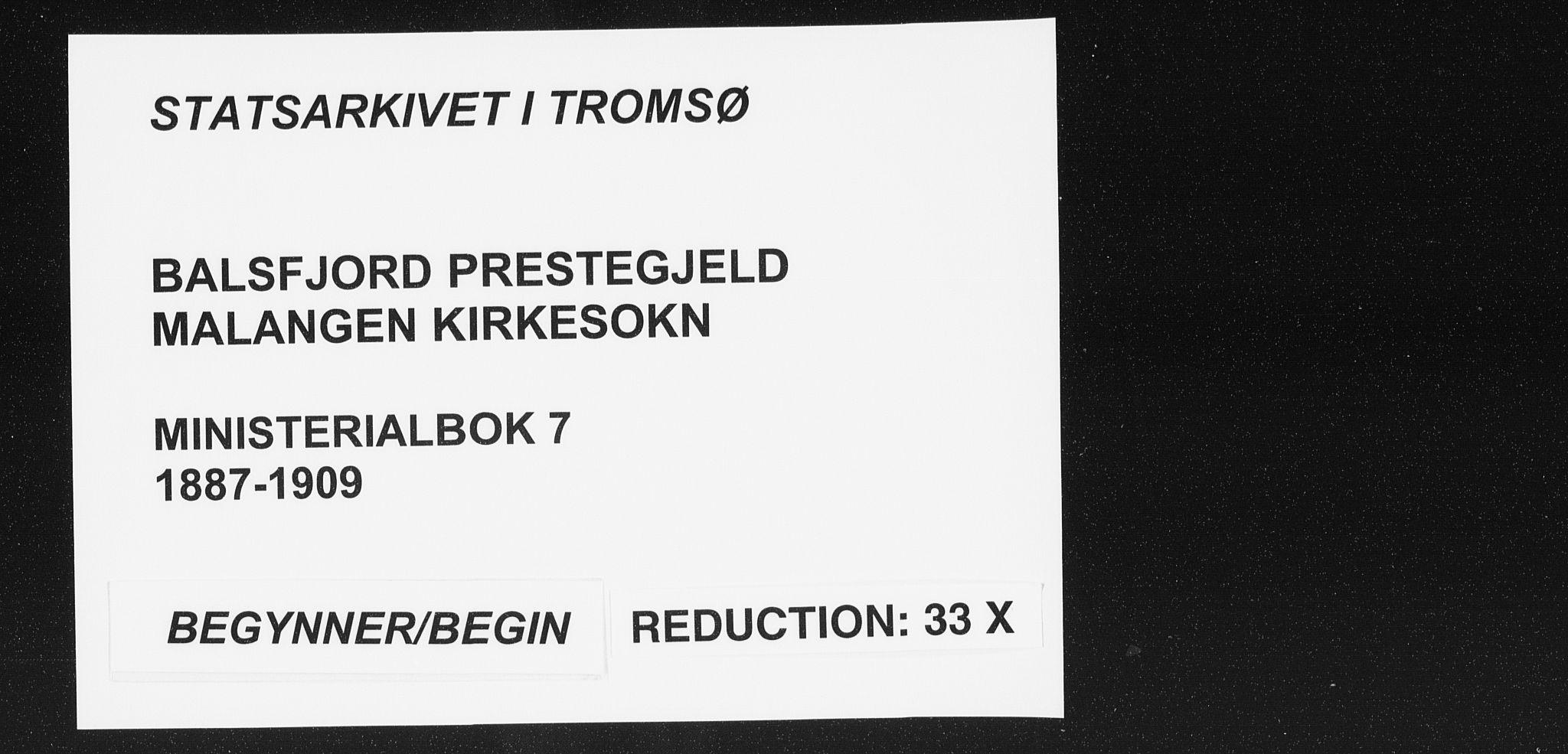 SATØ, Balsfjord sokneprestembete, Ministerialbok nr. 7, 1887-1909