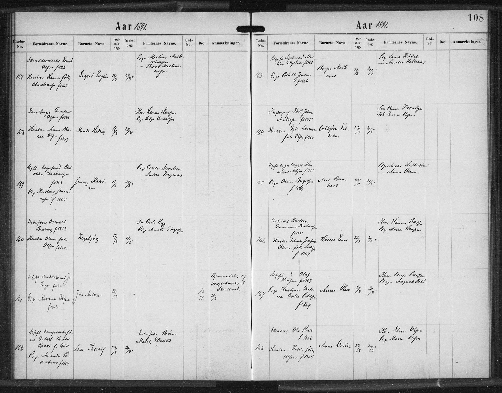 SAO, Rikshospitalet prestekontor Kirkebøker, K/L0003/0003: Dåpsbok nr. 3.3, 1889-1892, s. 108