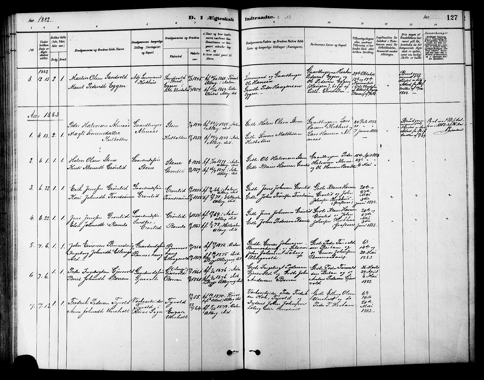 SAT, Ministerialprotokoller, klokkerbøker og fødselsregistre - Sør-Trøndelag, 686/L0983: Ministerialbok nr. 686A01, 1879-1890, s. 127