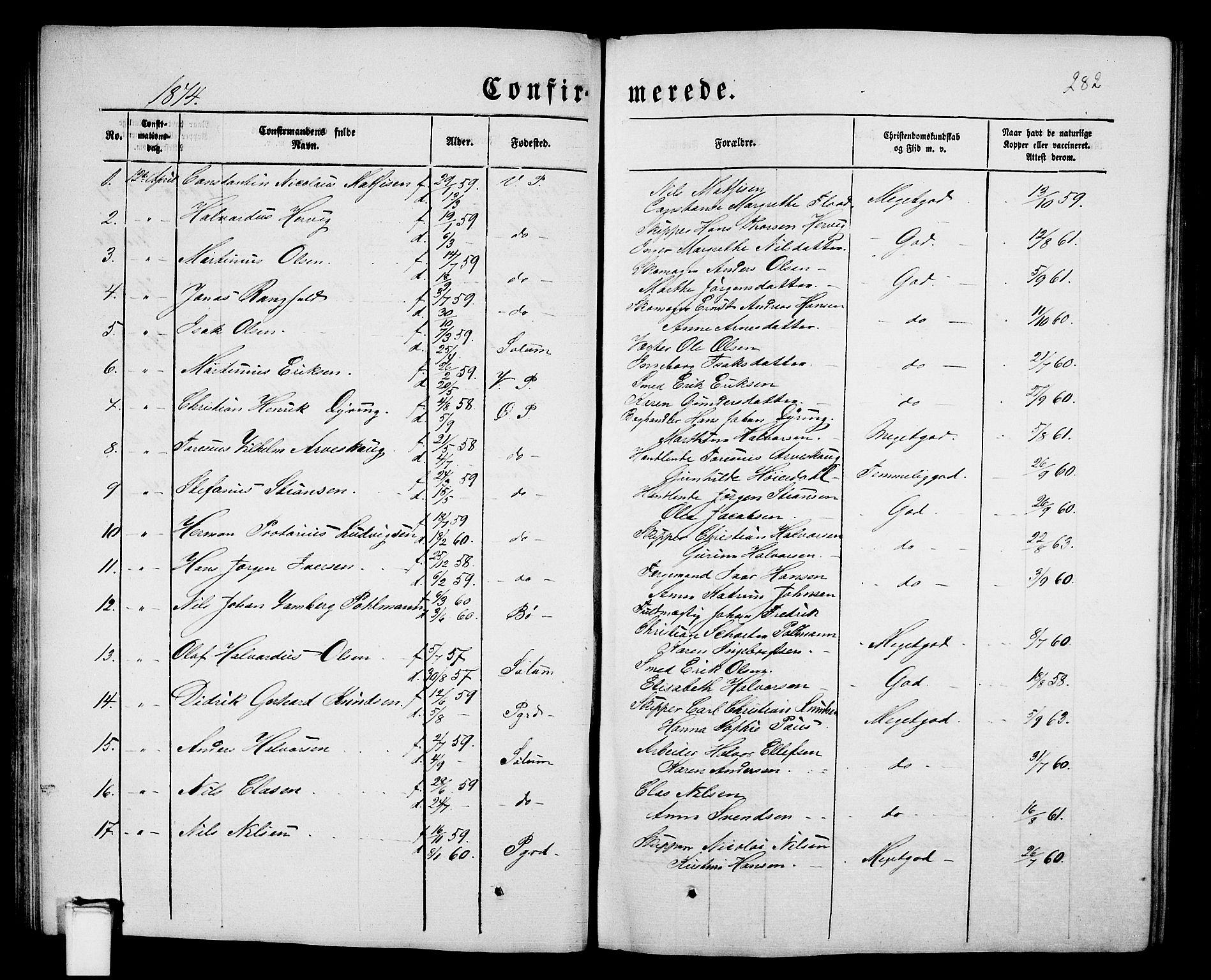 SAKO, Porsgrunn kirkebøker , G/Gb/L0004: Klokkerbok nr. II 4, 1853-1882, s. 282