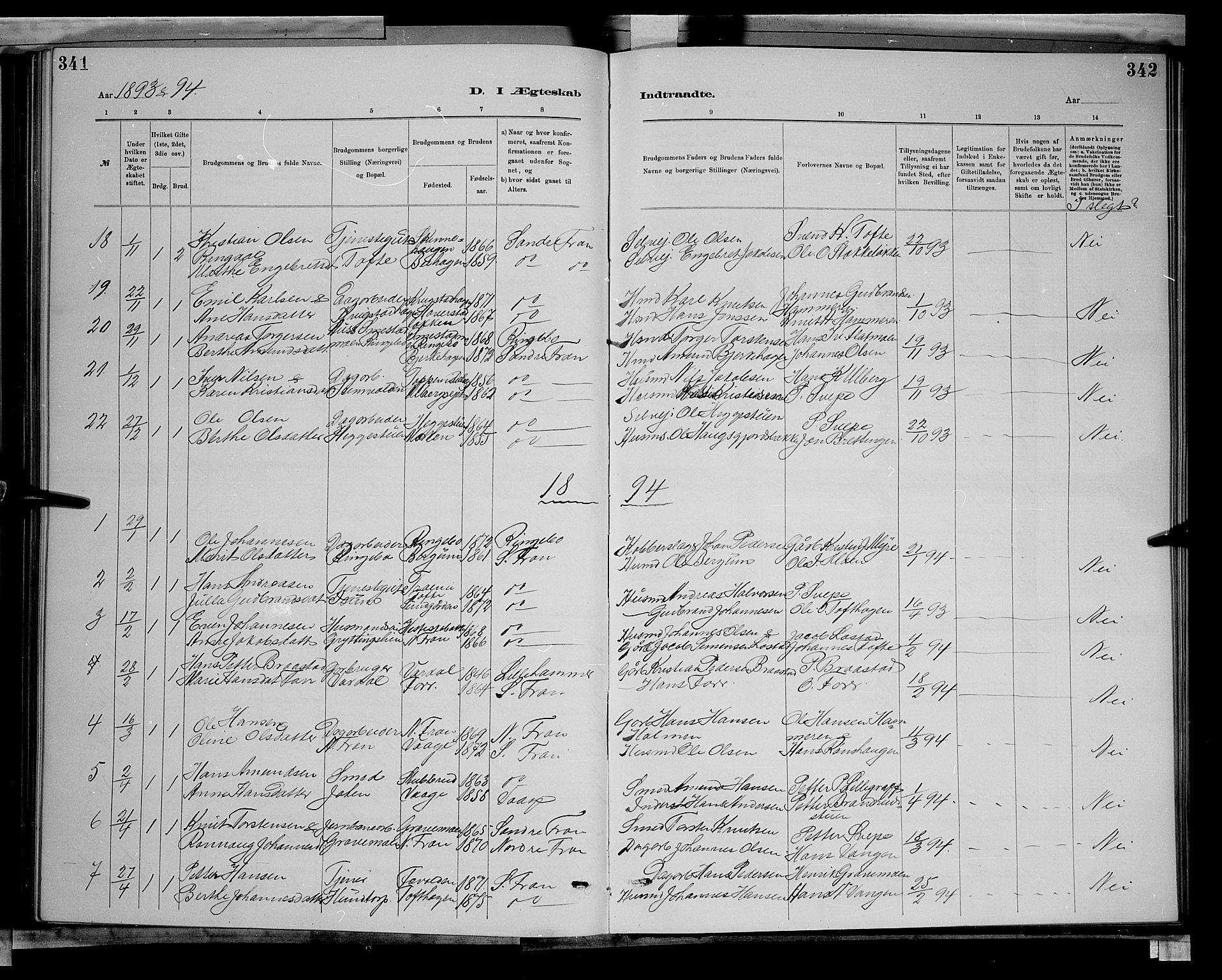 SAH, Sør-Fron prestekontor, H/Ha/Hab/L0003: Klokkerbok nr. 3, 1884-1896, s. 341-342
