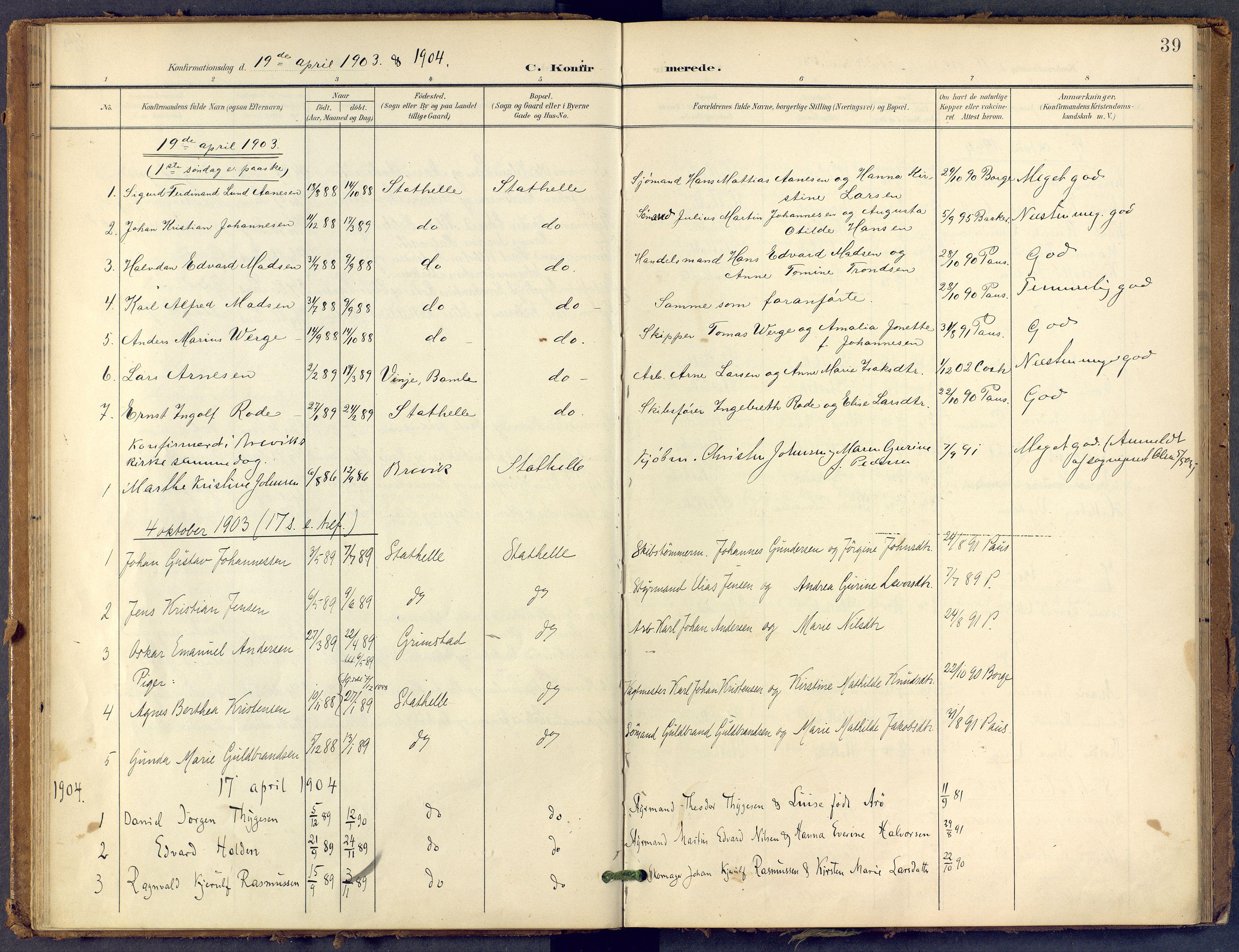 SAKO, Bamble kirkebøker, F/Fb/L0002: Ministerialbok nr. II 2, 1900-1921, s. 39