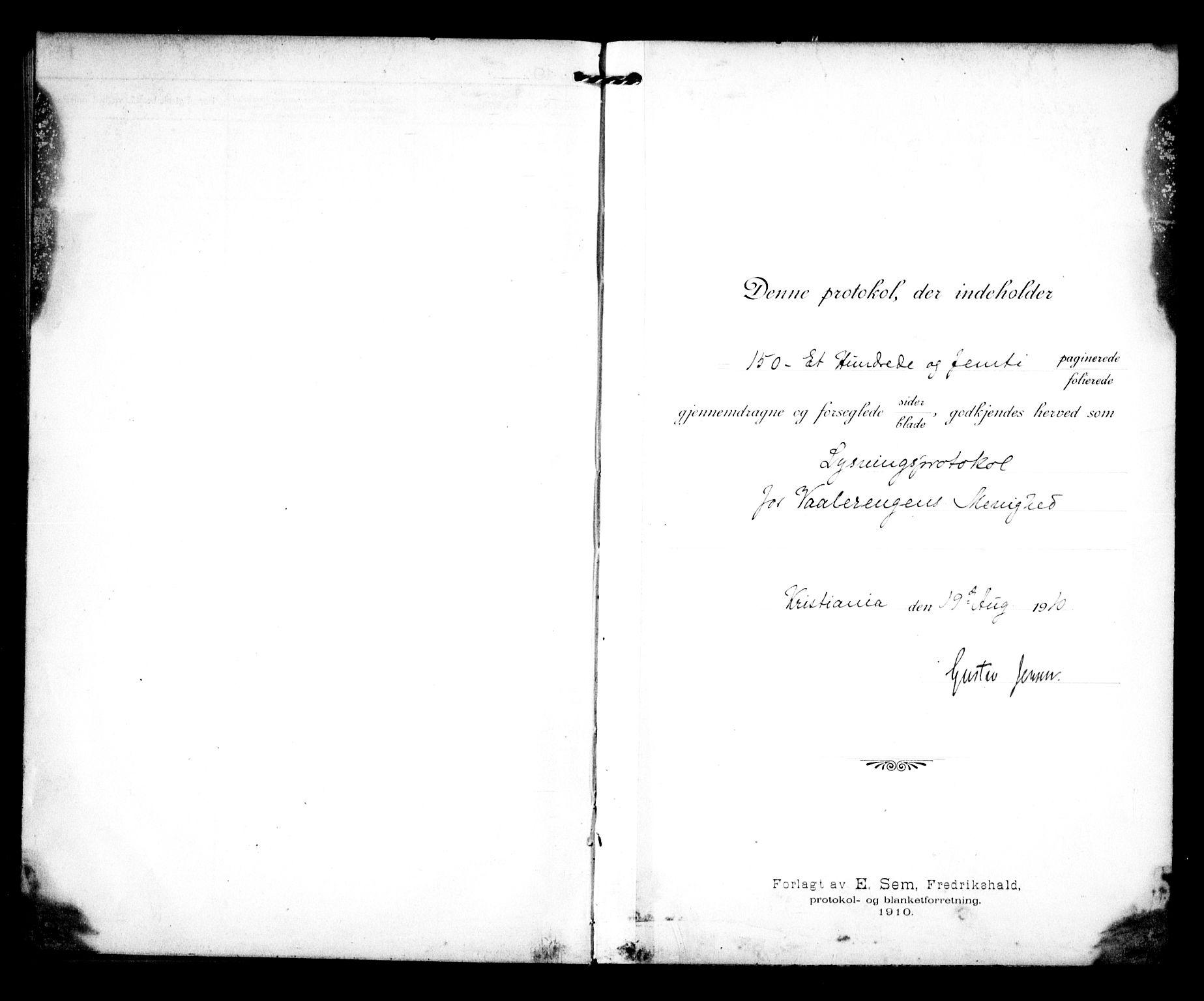SAO, Vålerengen prestekontor Kirkebøker, H/Ha/L0002: Lysningsprotokoll nr. 2, 1910-1918