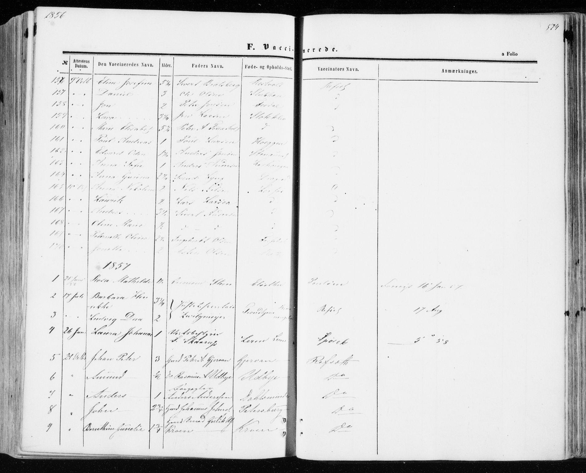 SAT, Ministerialprotokoller, klokkerbøker og fødselsregistre - Sør-Trøndelag, 606/L0292: Ministerialbok nr. 606A07, 1856-1865, s. 524
