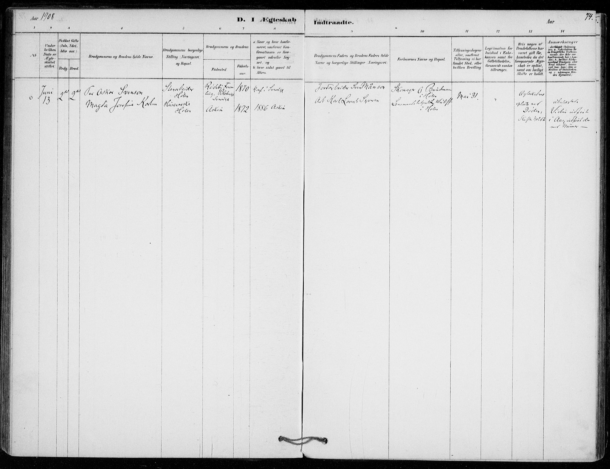 SAO, Vestby prestekontor Kirkebøker, F/Fe/L0001: Ministerialbok nr. V 1, 1878-1931, s. 74