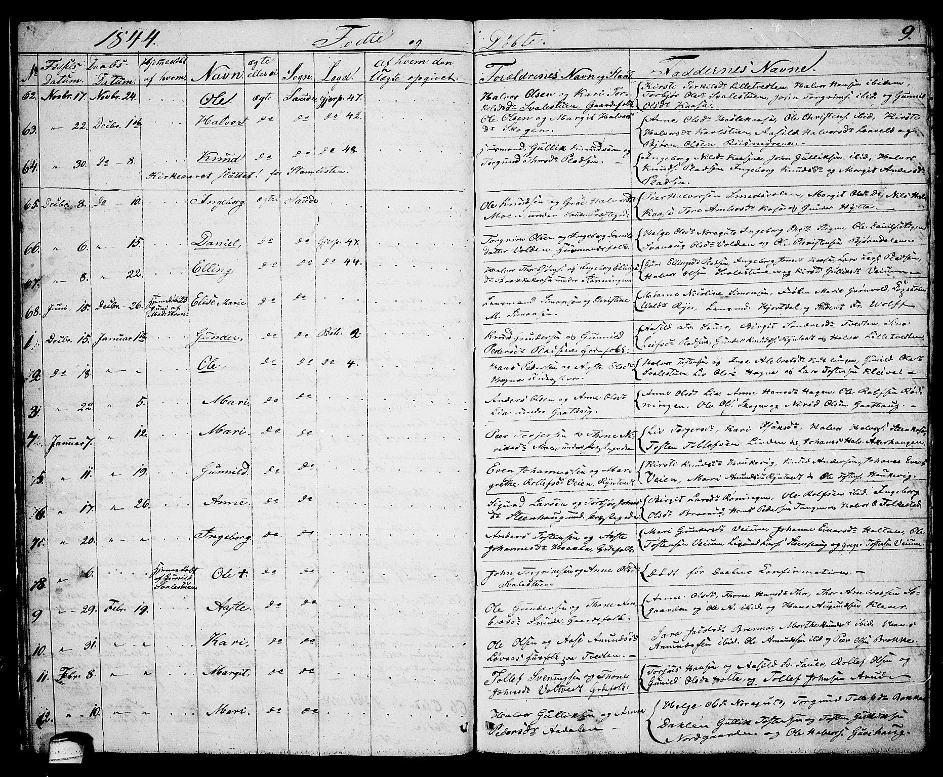 SAKO, Sauherad kirkebøker, G/Ga/L0002: Klokkerbok nr. I 2, 1842-1866, s. 9