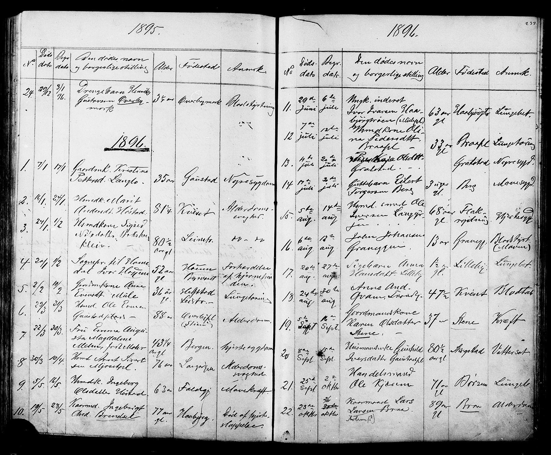 SAT, Ministerialprotokoller, klokkerbøker og fødselsregistre - Sør-Trøndelag, 612/L0387: Klokkerbok nr. 612C03, 1874-1908, s. 237