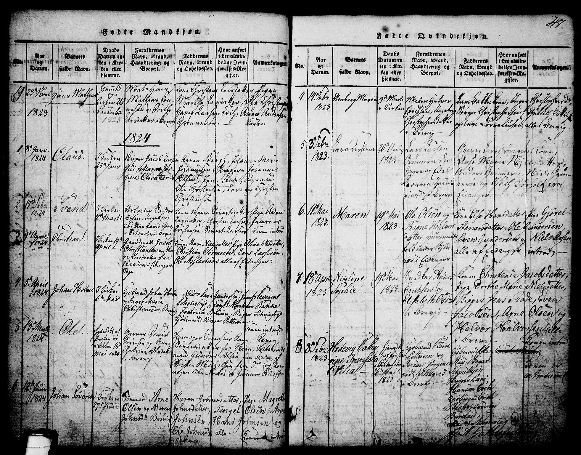 SAKO, Brevik kirkebøker, G/Ga/L0001: Klokkerbok nr. 1, 1814-1845, s. 47
