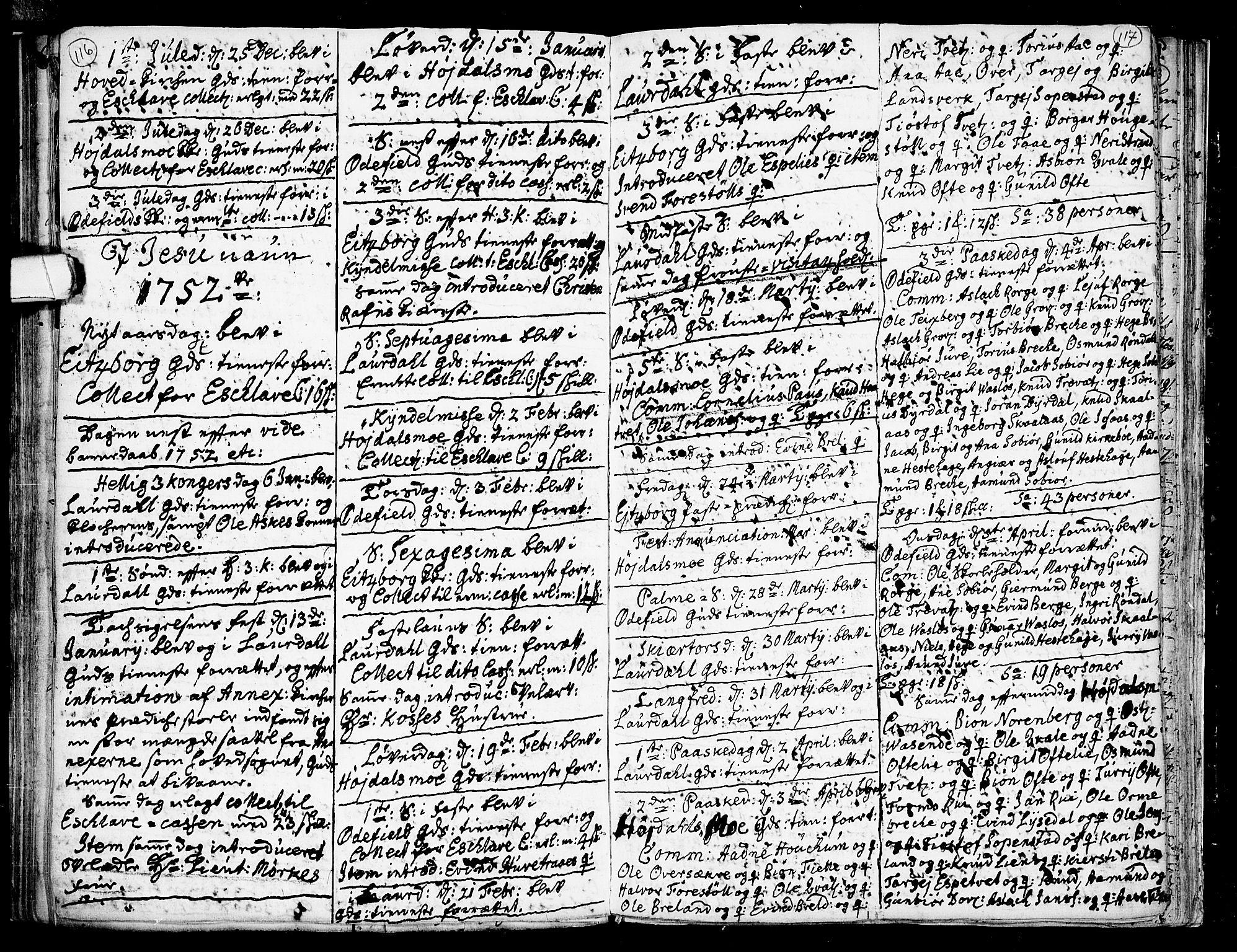 SAKO, Lårdal kirkebøker, F/Fa/L0002: Ministerialbok nr. I 2, 1734-1754, s. 116-117