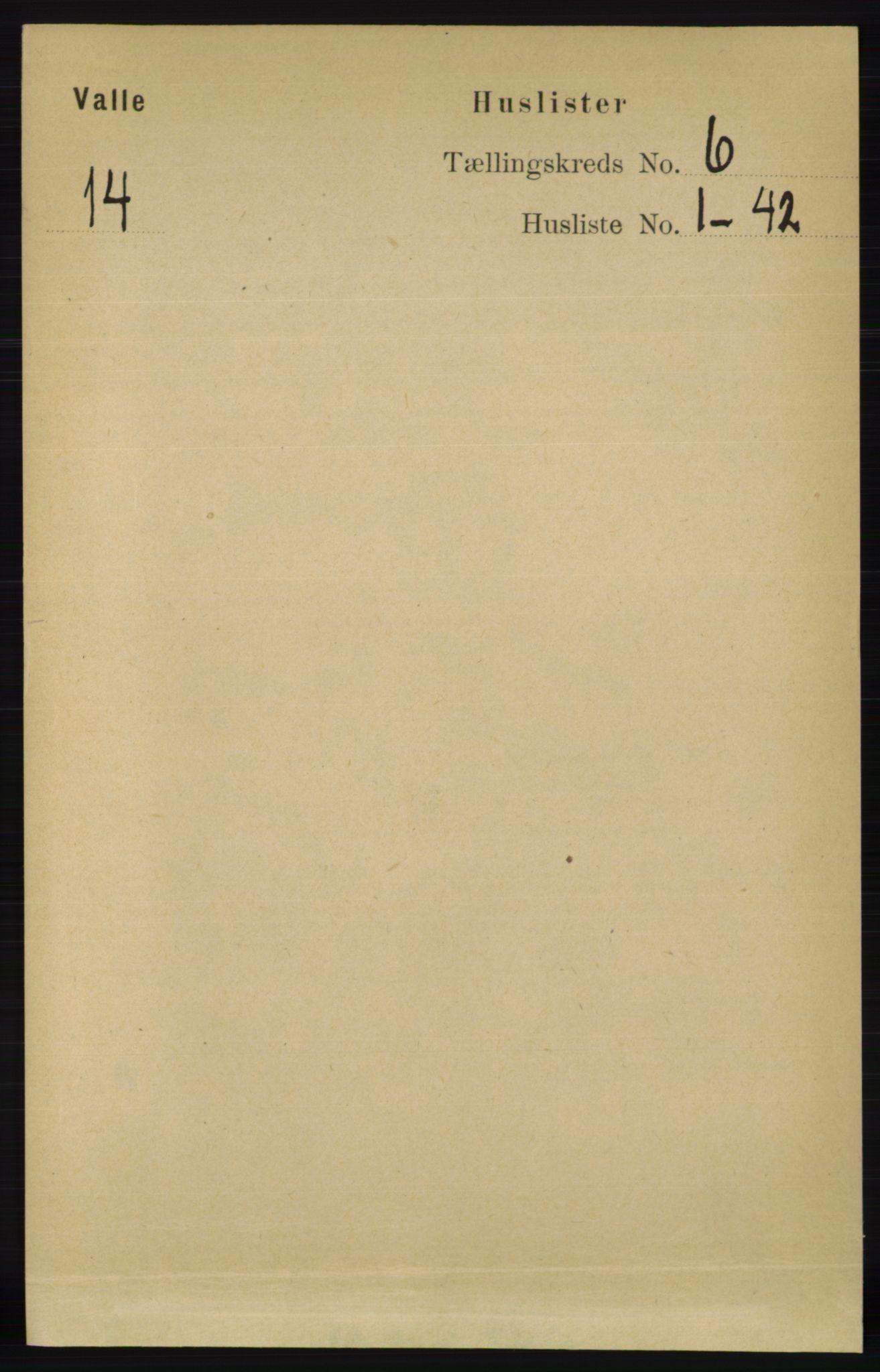 RA, Folketelling 1891 for 0940 Valle herred, 1891, s. 1634