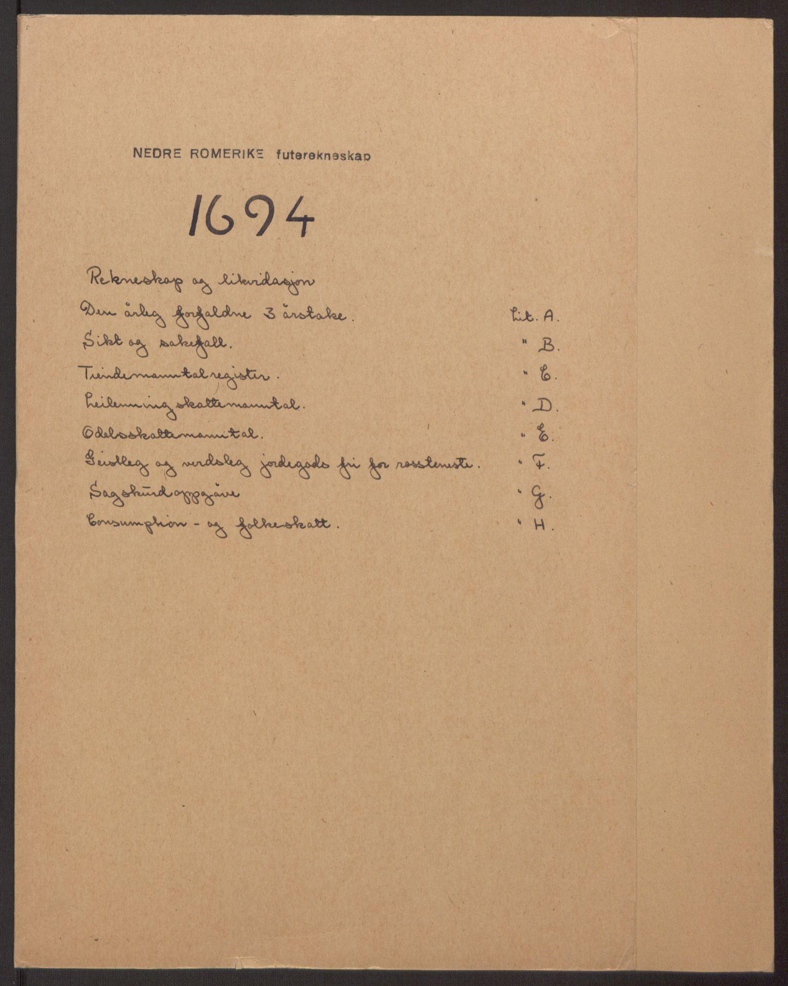 RA, Rentekammeret inntil 1814, Reviderte regnskaper, Fogderegnskap, R11/L0579: Fogderegnskap Nedre Romerike, 1694-1695, s. 2