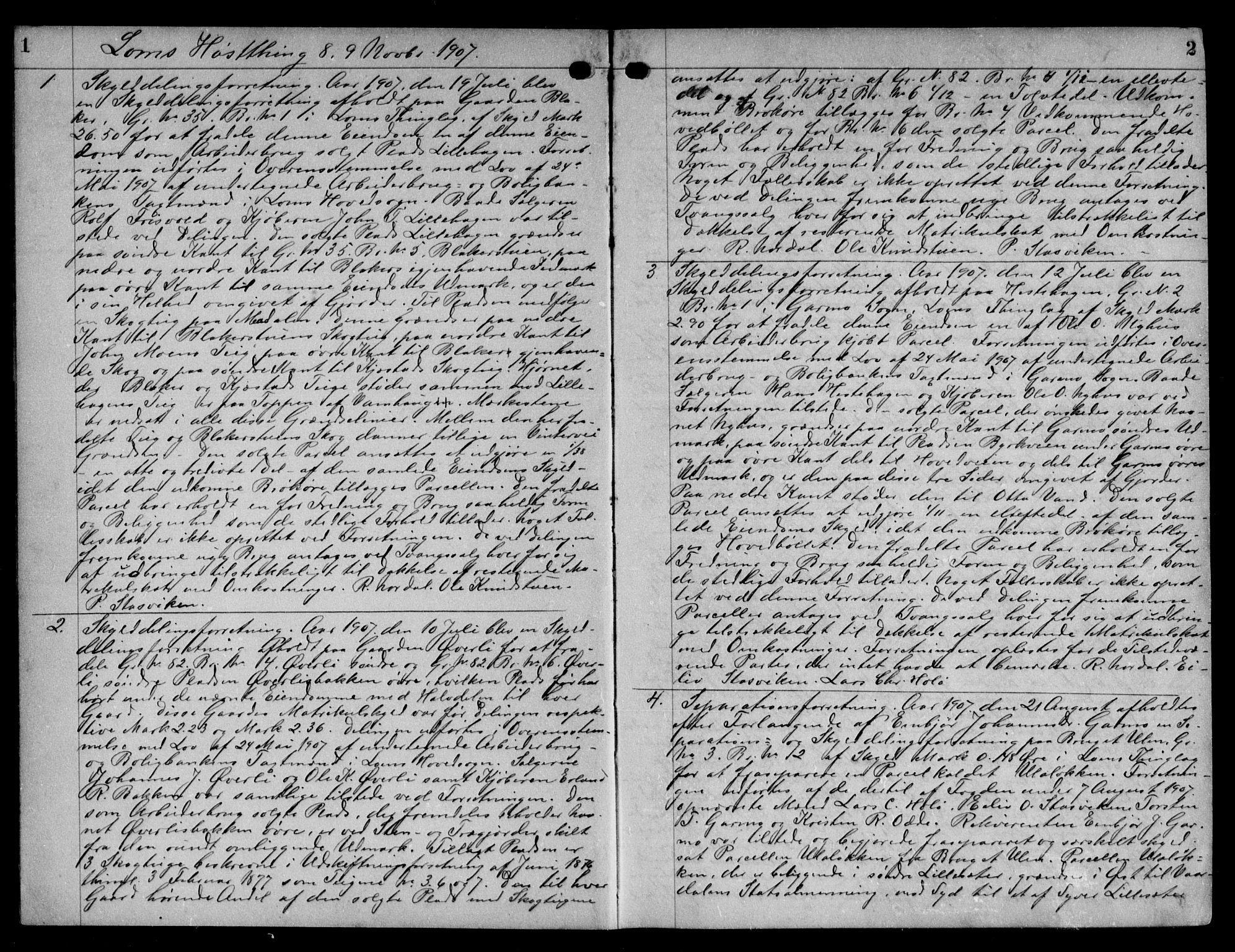 SAH, Nord-Gudbrandsdal tingrett, H/Hb/Hba/L0016: Pantebok nr. 16, 1907-1910, s. 1-2