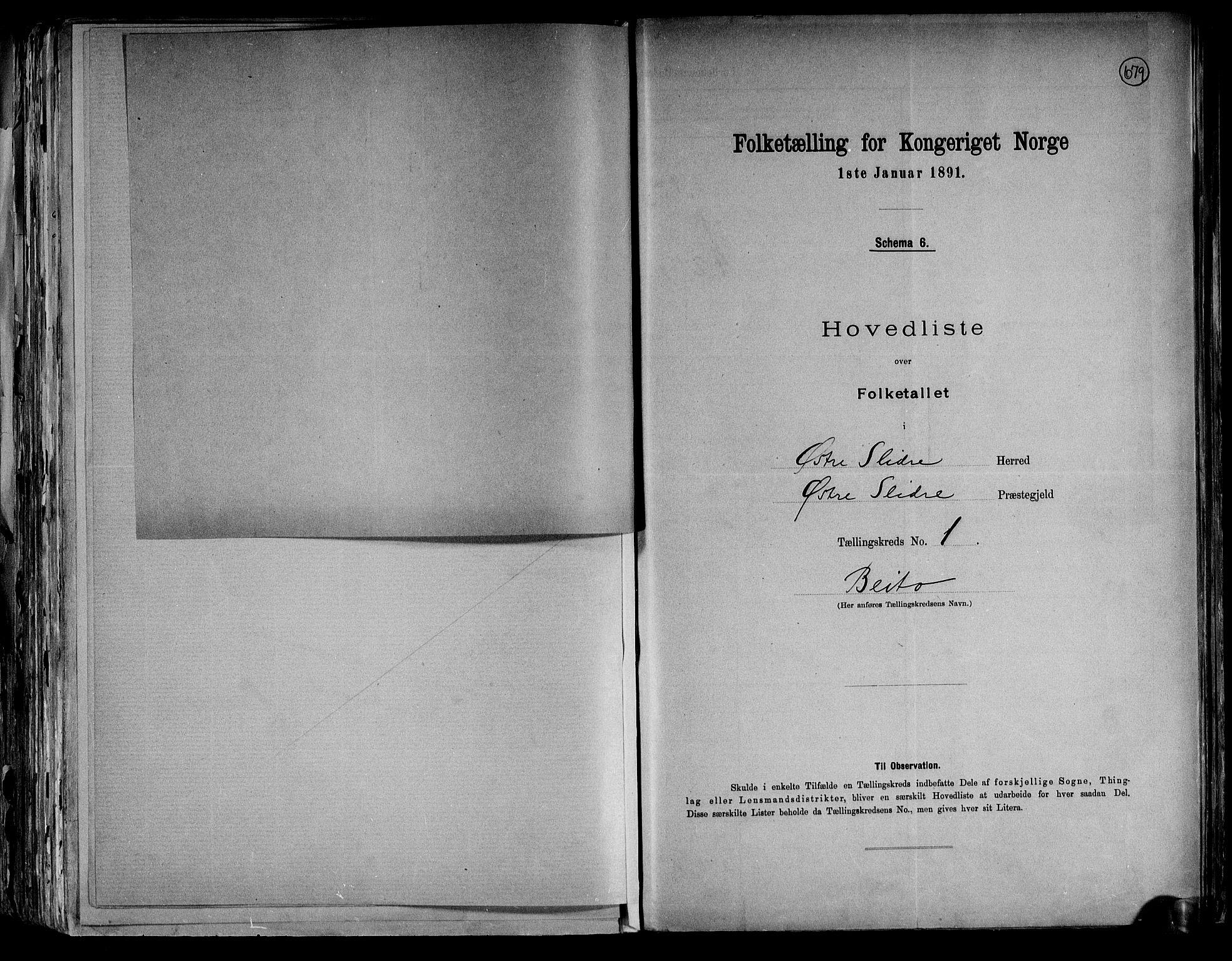RA, Folketelling 1891 for 0544 Øystre Slidre herred, 1891, s. 7