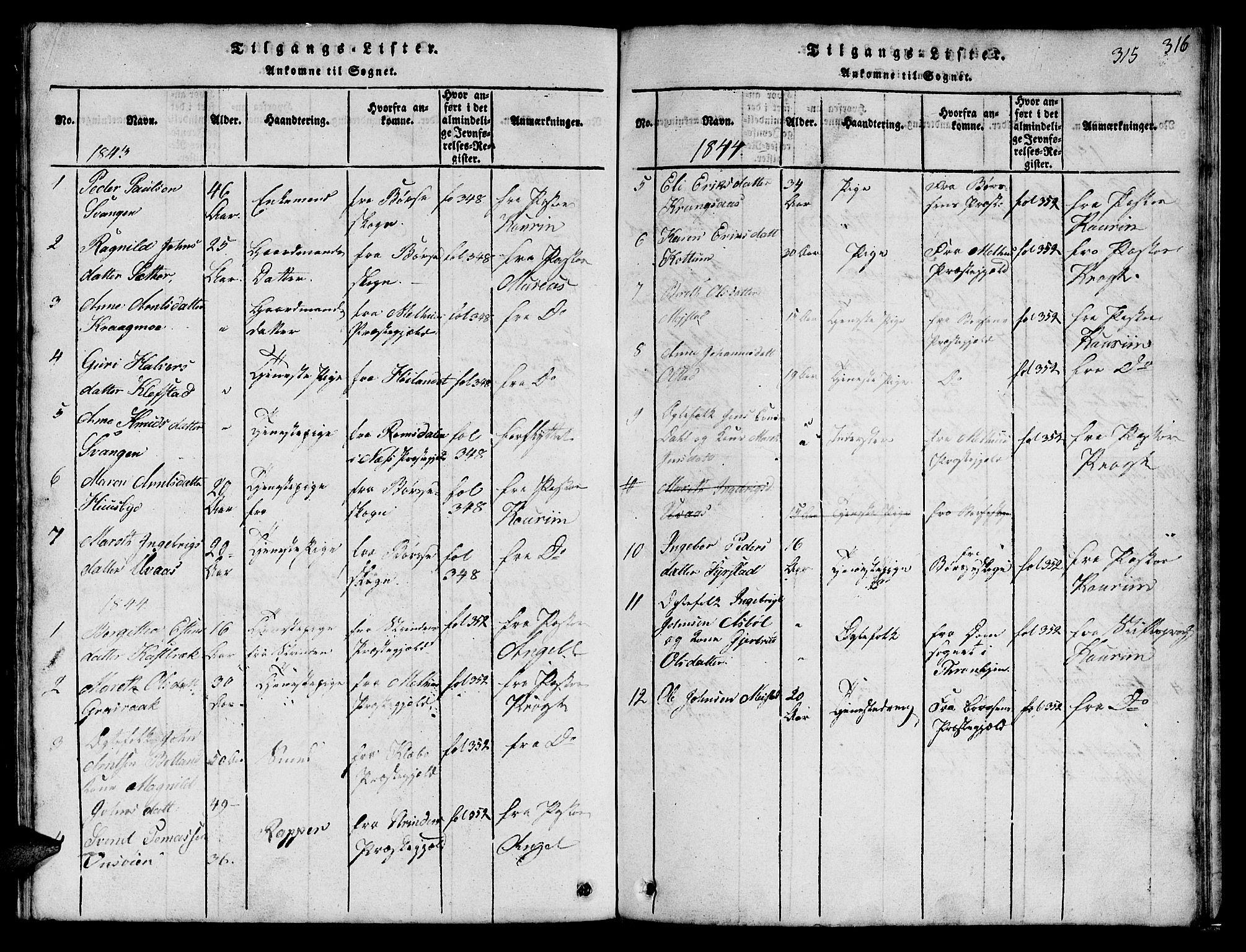 SAT, Ministerialprotokoller, klokkerbøker og fødselsregistre - Sør-Trøndelag, 666/L0788: Klokkerbok nr. 666C01, 1816-1847, s. 315
