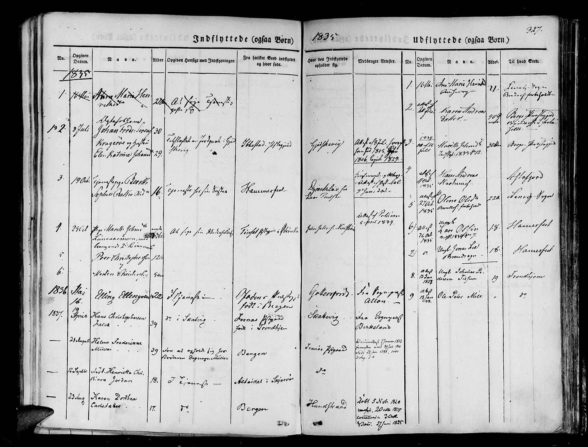 SATØ, Tranøy sokneprestkontor, I/Ia/Iaa/L0005kirke: Ministerialbok nr. 5, 1829-1844, s. 327