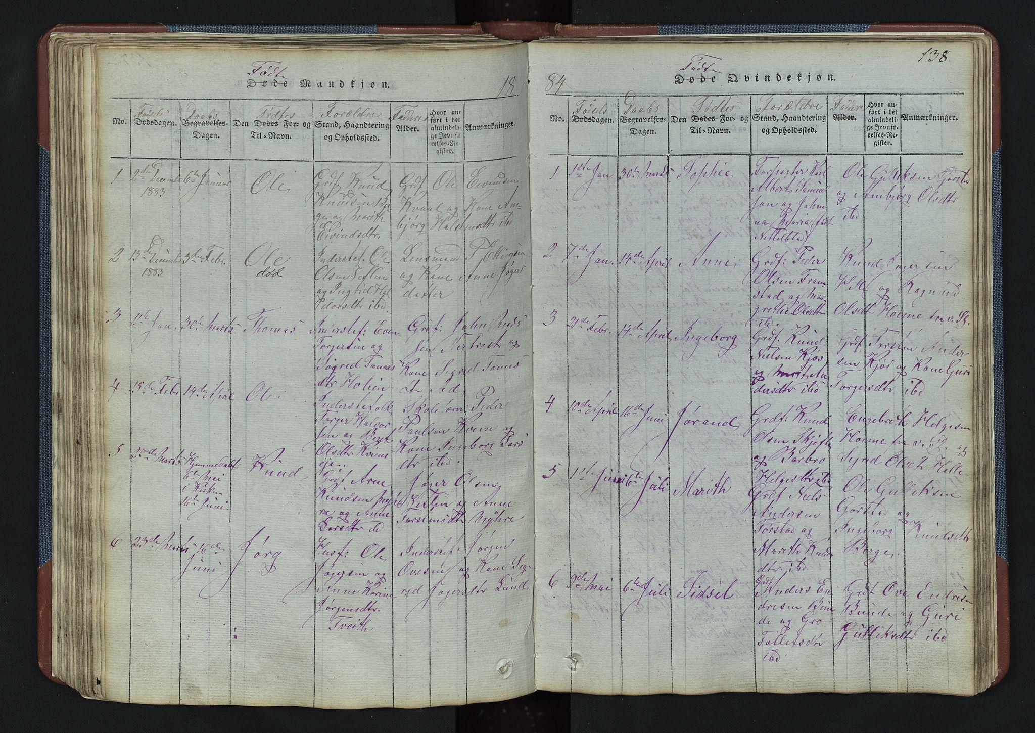 SAH, Vang prestekontor, Valdres, Klokkerbok nr. 3, 1814-1892, s. 138